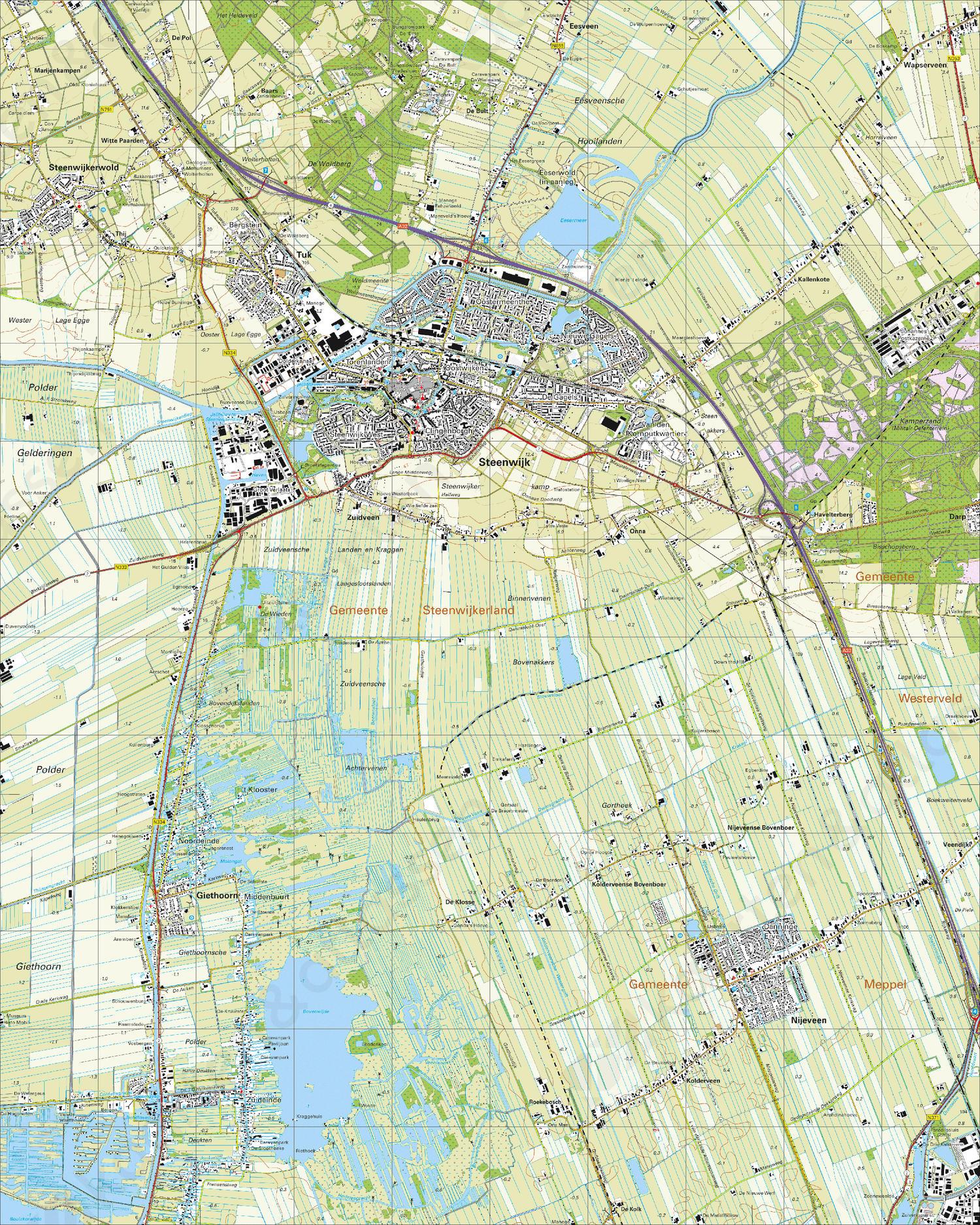 Topografische Kaart 16G Steenwijk