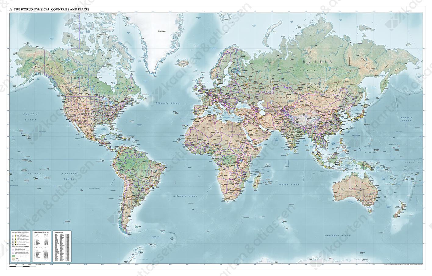 Natuurkundige wereldkaart Natural Earth