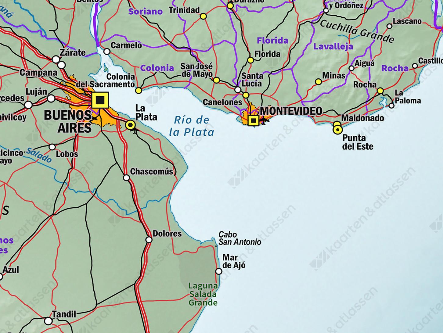 Kaart Chili en Argentinië