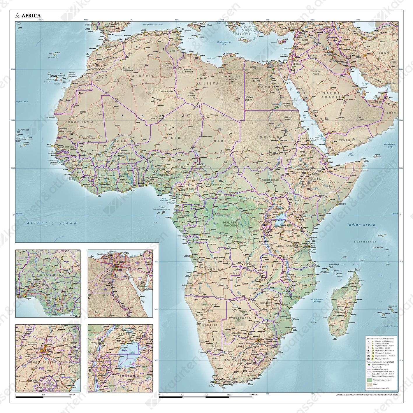 Afrika kaart natuurkundig