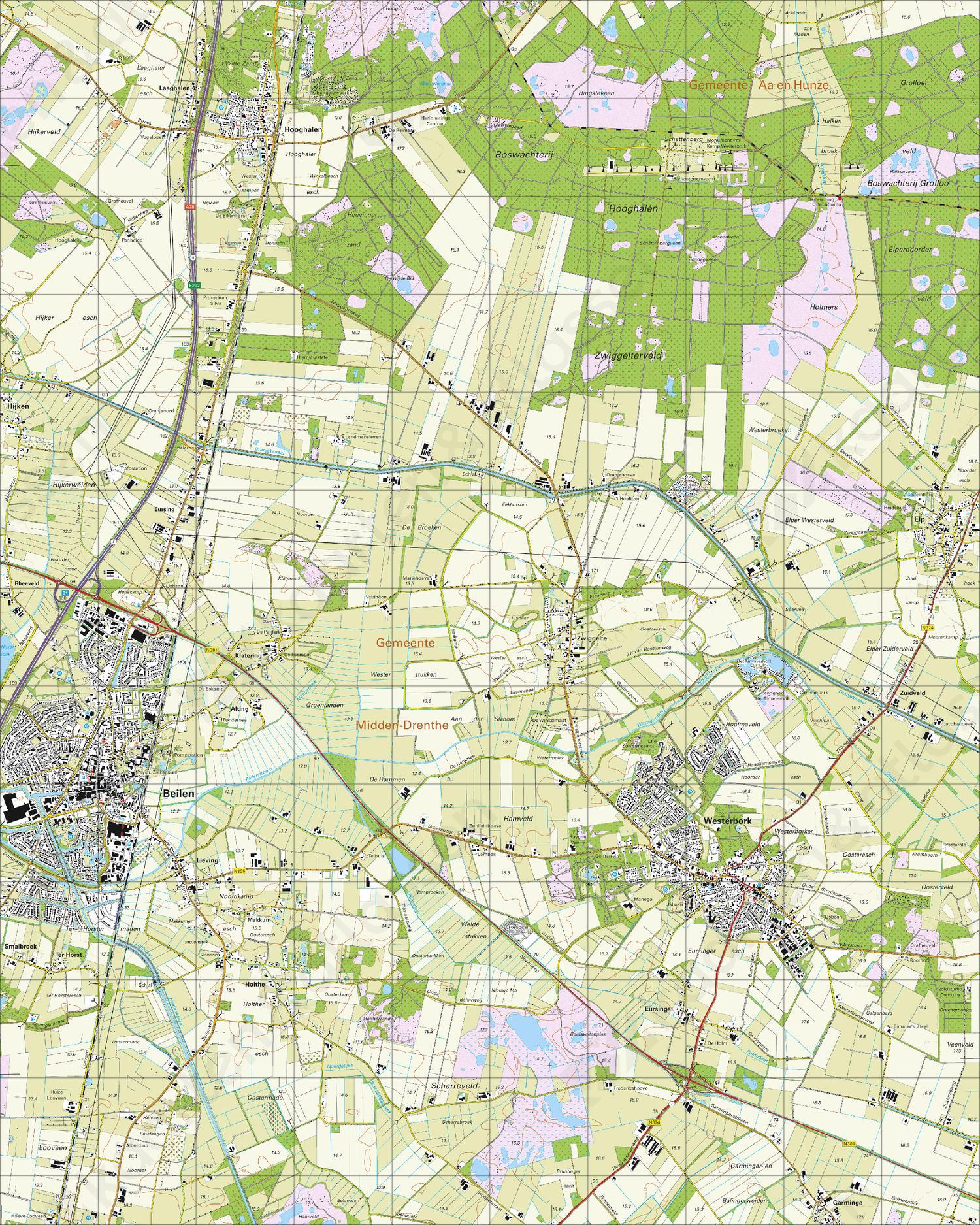 Topografische Kaart 17B Beilen