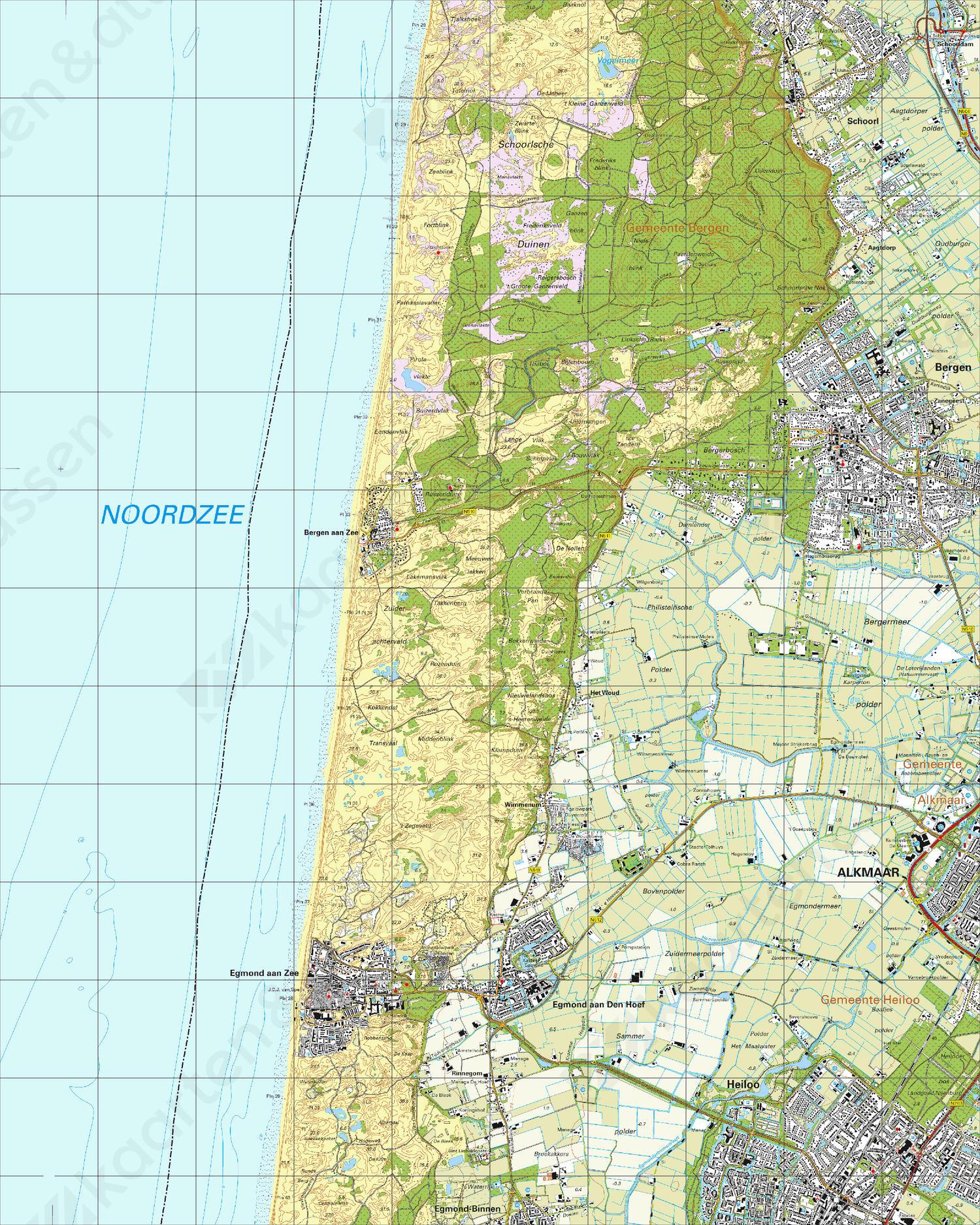 Topografische Kaart 19A Bergen