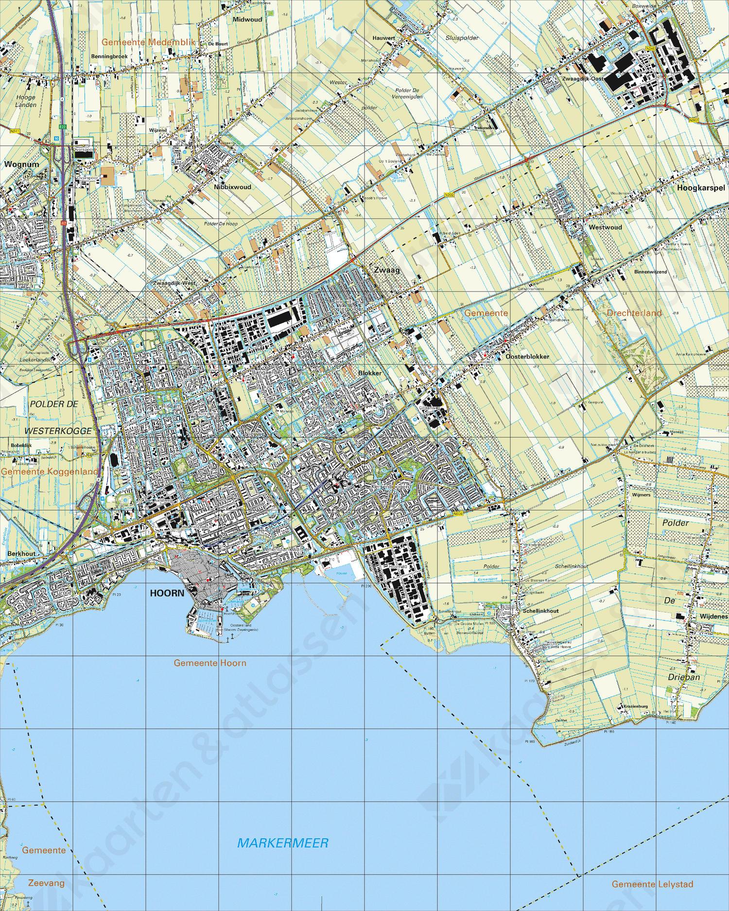 Topografische Kaart 19F Hoorn