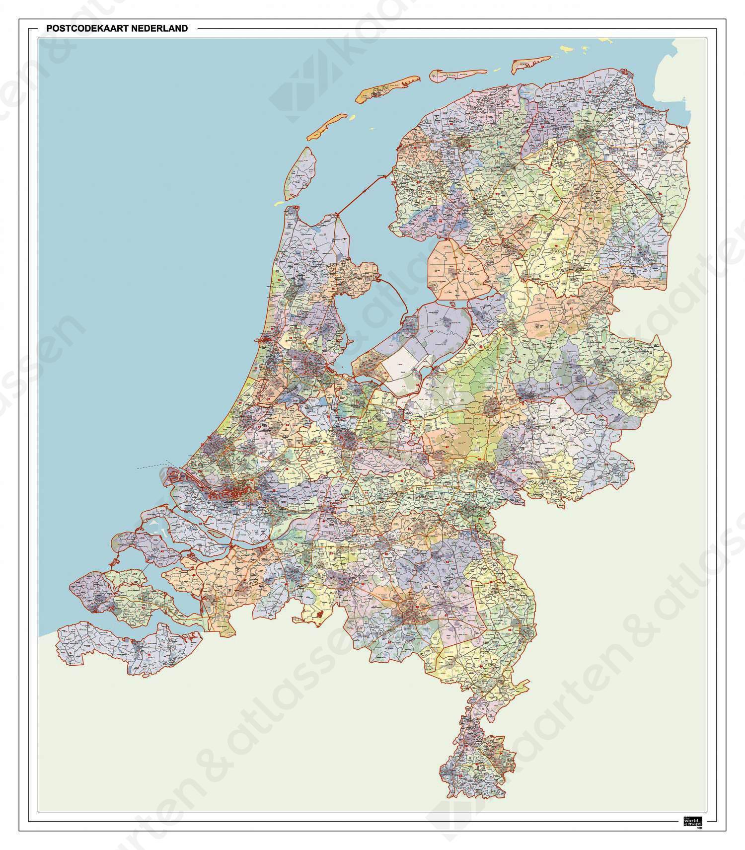 2- en 4-cijferige Postcodekaart Nederland met Huishoudens XXL 1261