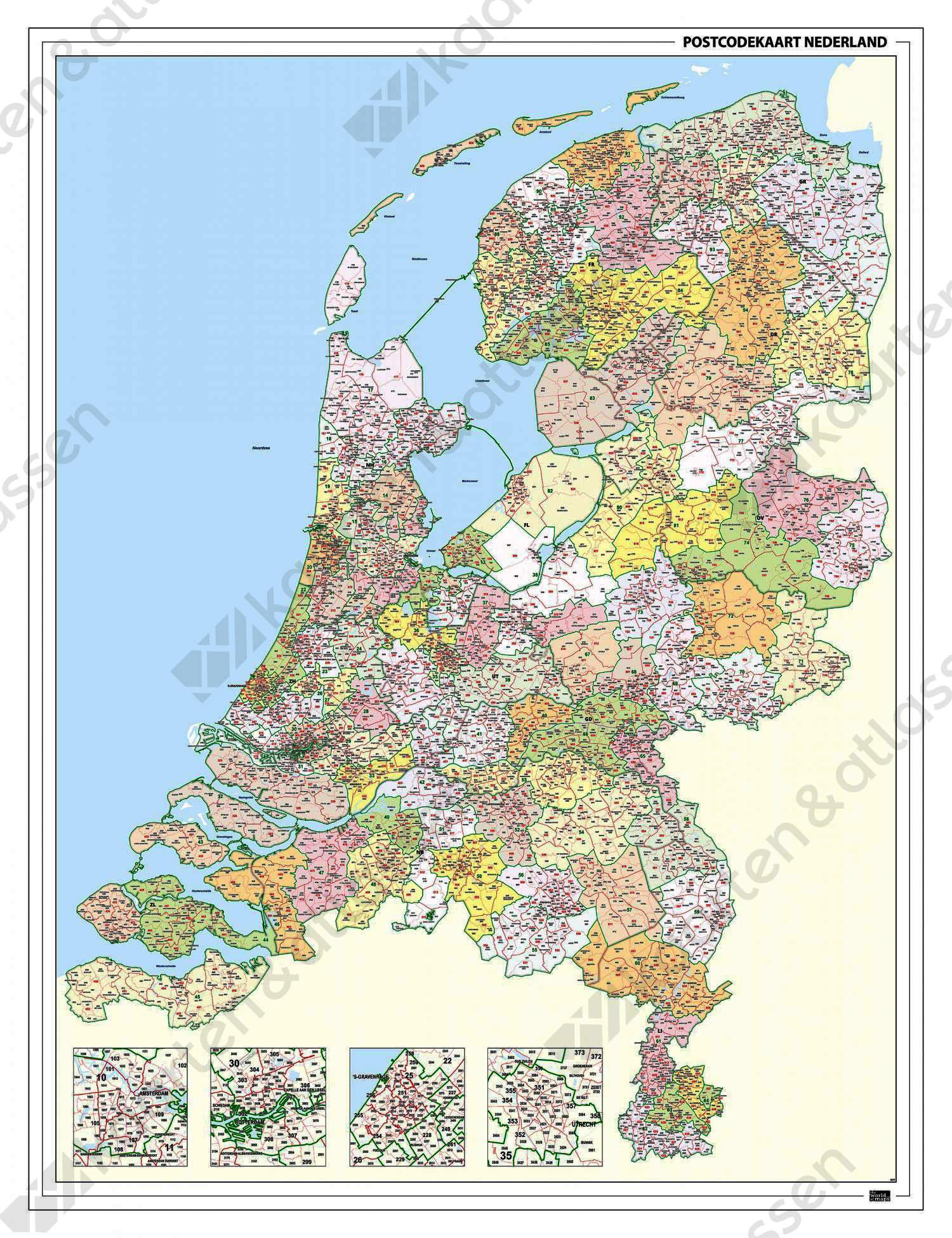 2-, 3- en 4-cijferige Postcodekaart Nederland 859