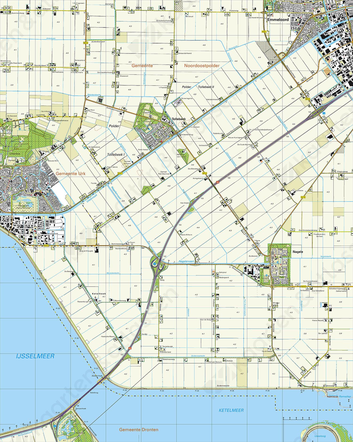 Topografische Kaart 20F Nagele