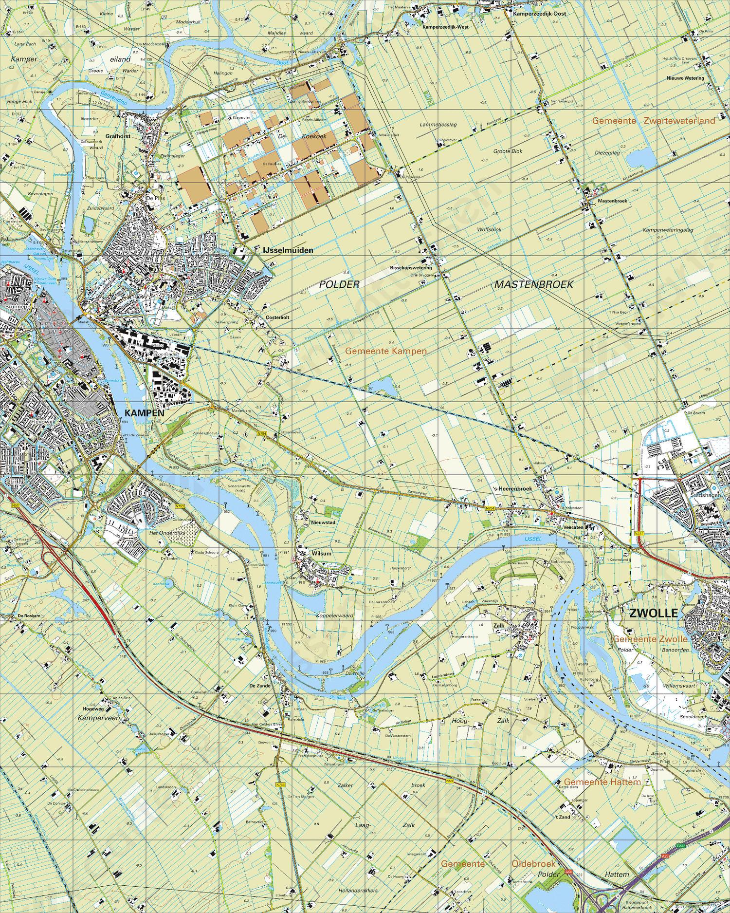 Topografische Kaart 21D Kampen