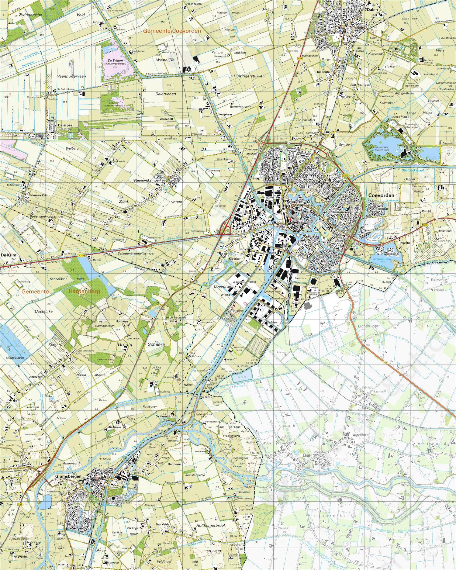 Topografische Kaart 22E Coevorden