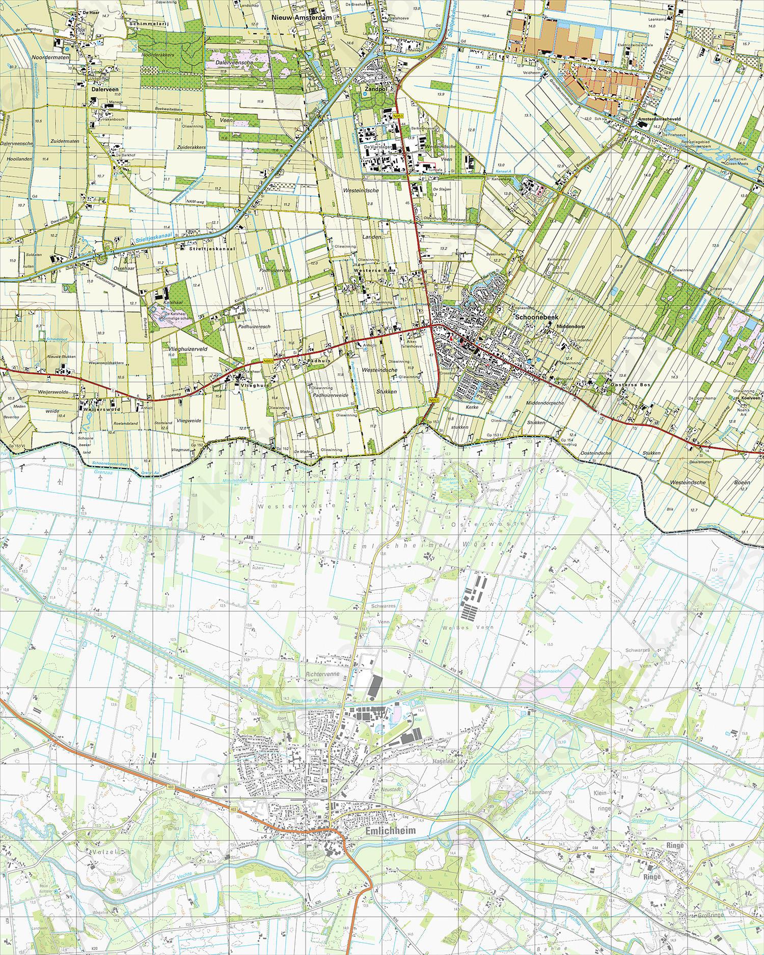 Topografische Kaart 22F Schoonebeek