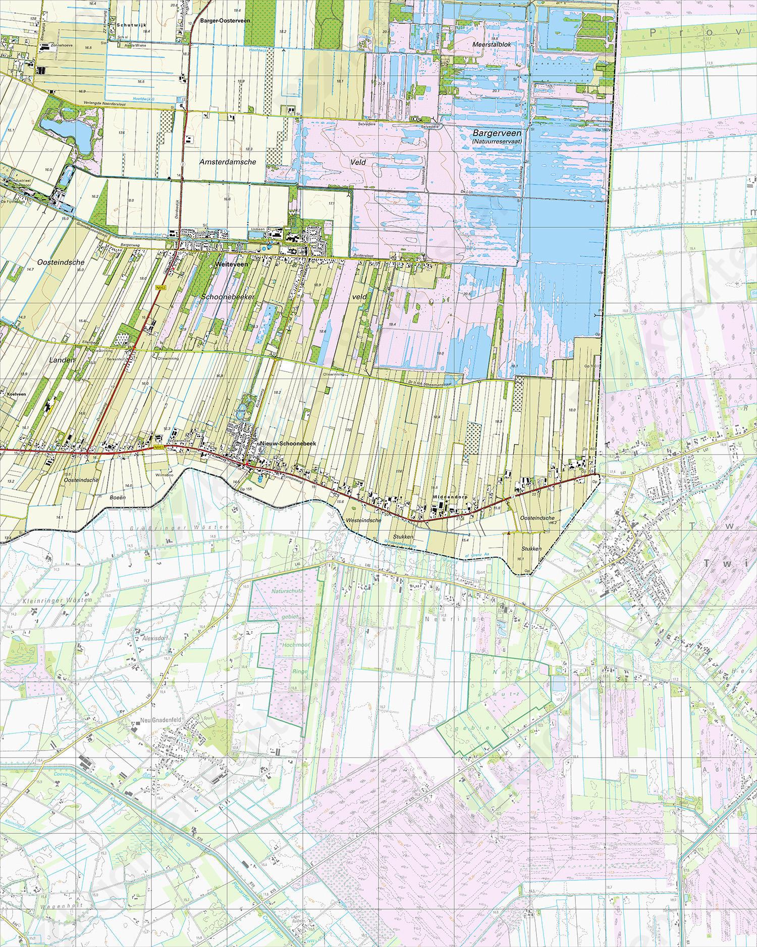 Topografische Kaart 23A Weiteveen