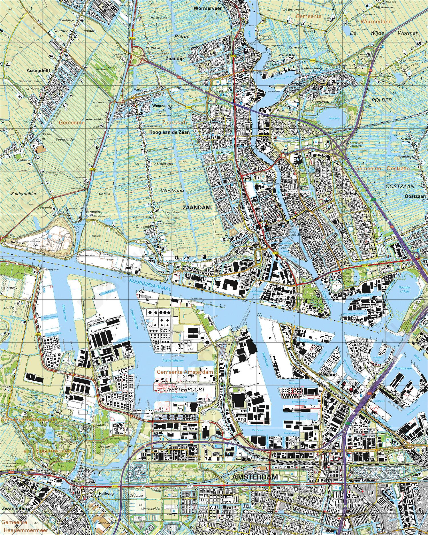 Topografische Kaart 25B Zaandam
