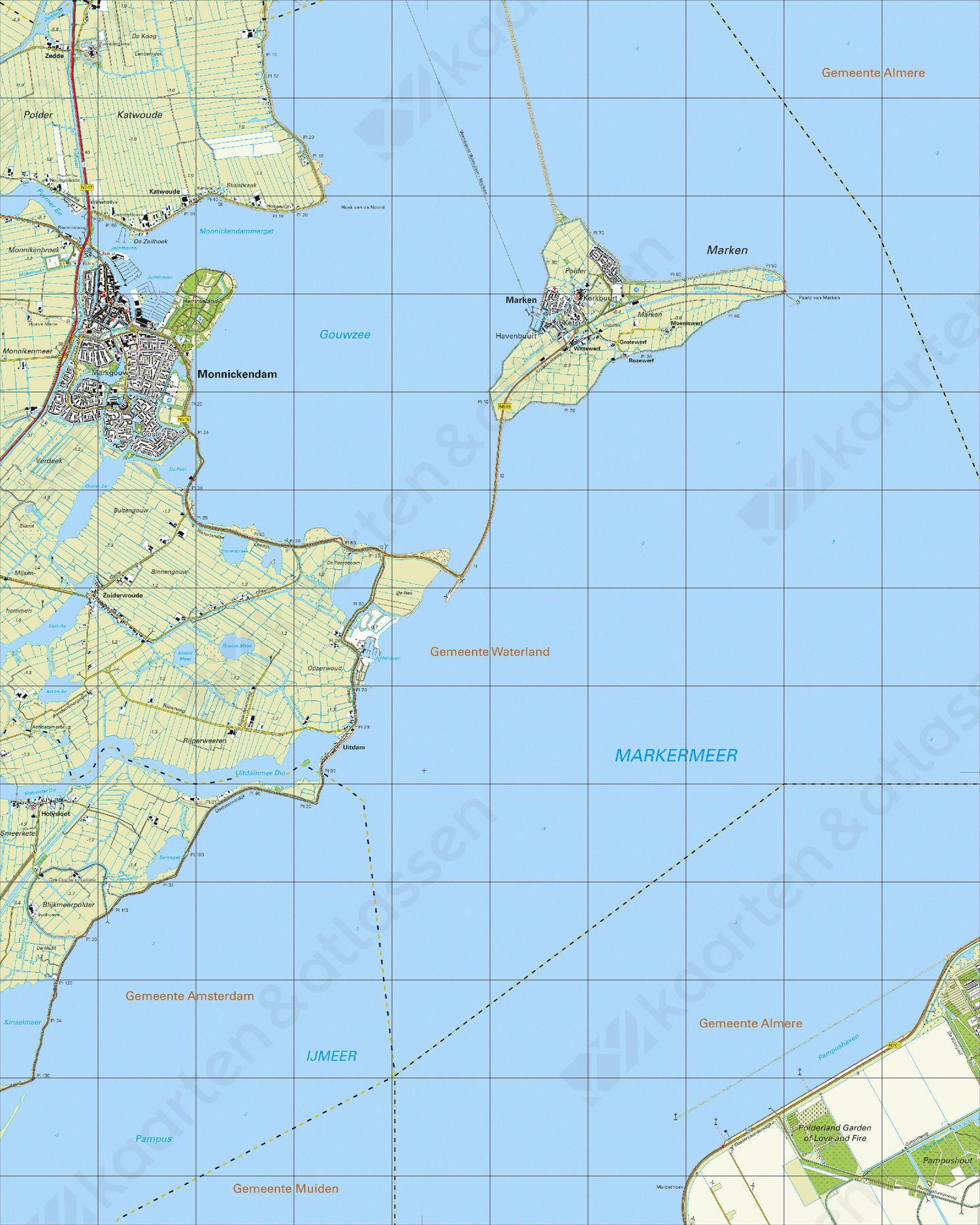 Topografische Kaart 25F Monnickendam
