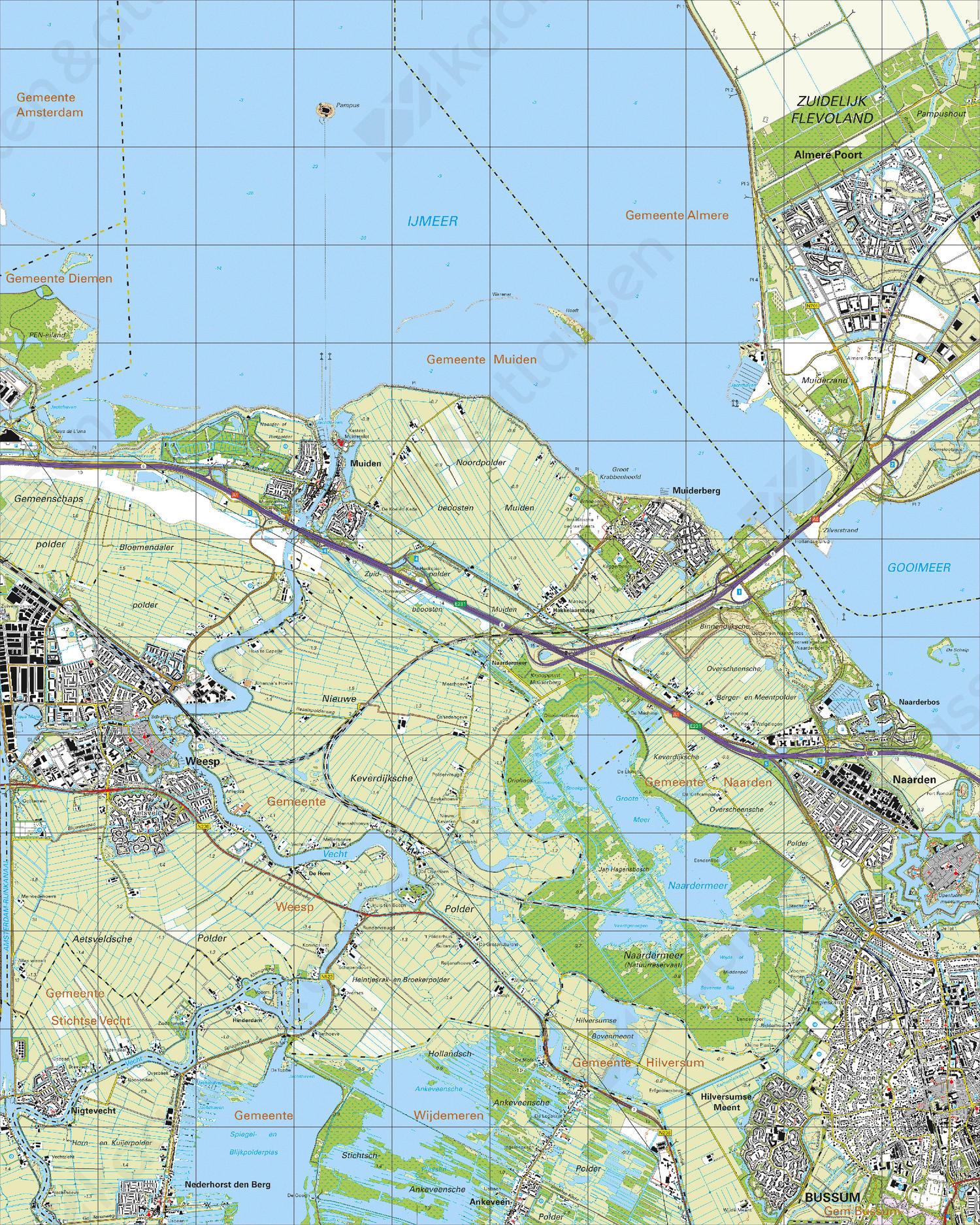 Topografische Kaart 25H Bussum