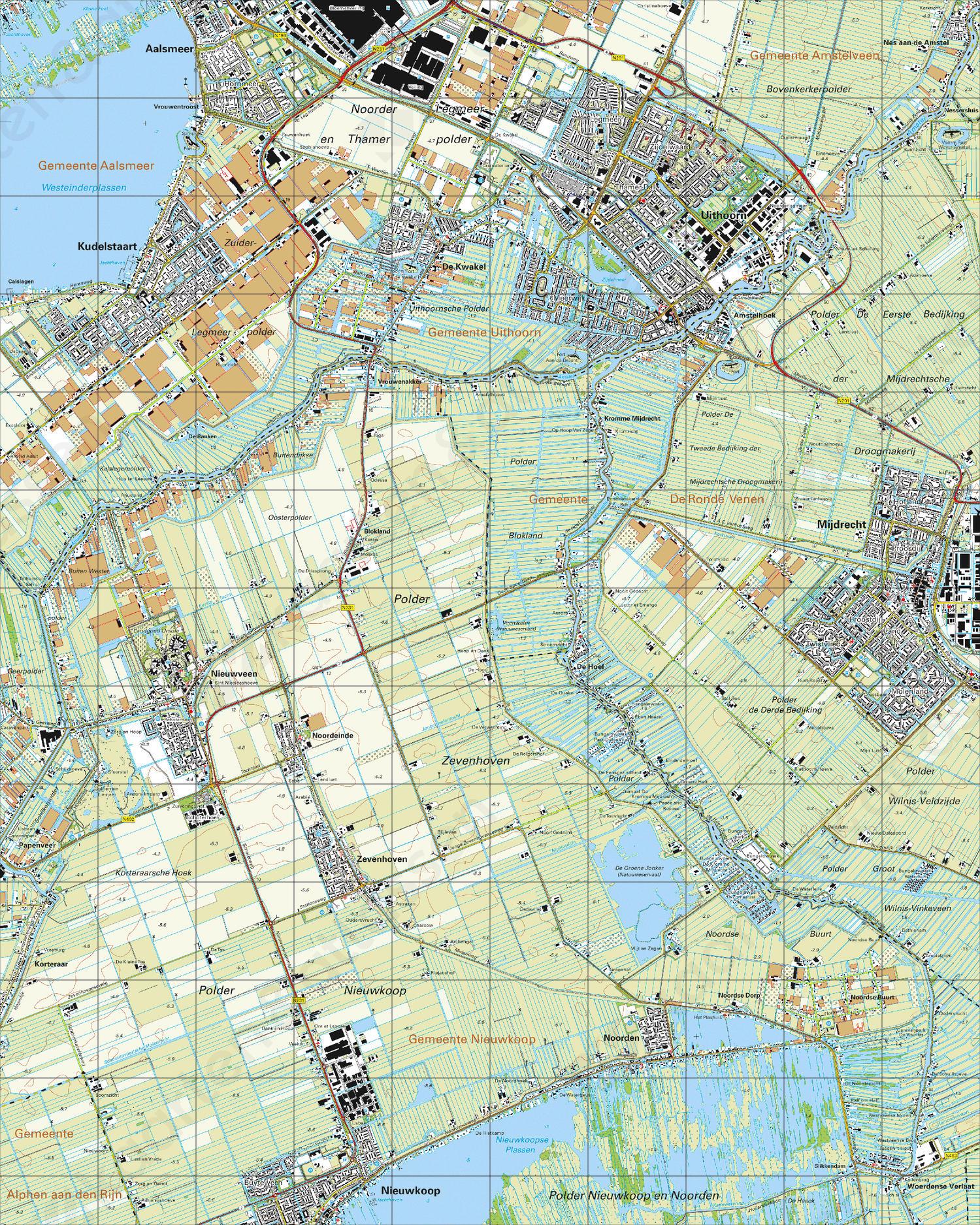 Topografische Kaart 31B Uithoorn