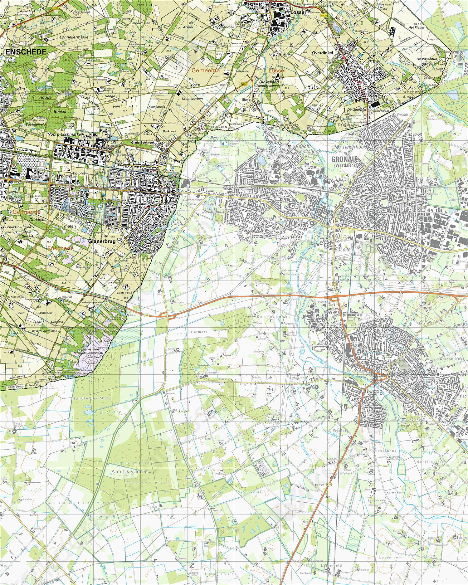 Topografische Kaart 35A Glanerbrug