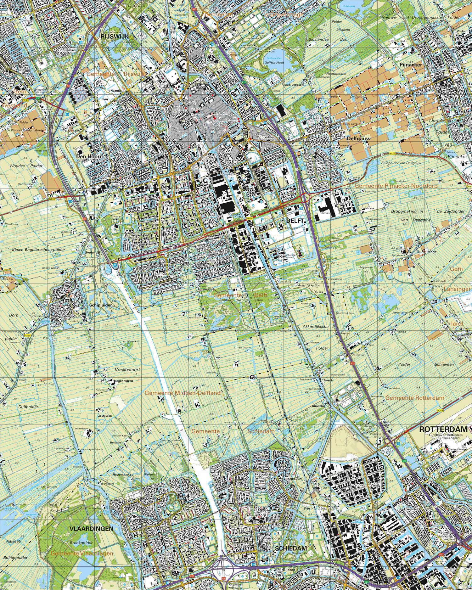 Topografische Kaart 37E Delft