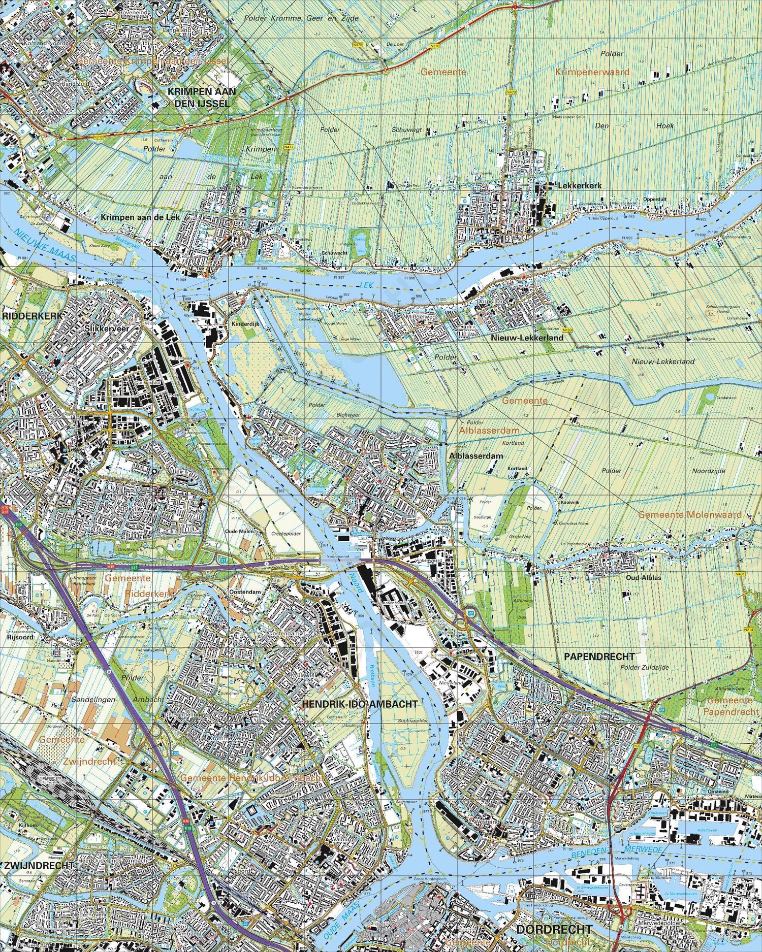 Topografische Kaart 38C Alblasserdam