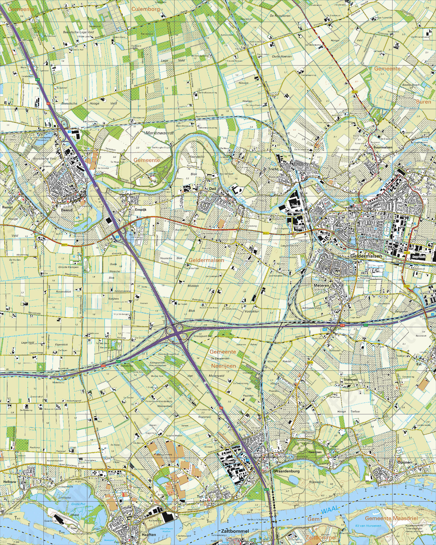 Topografische Kaart 39C Geldermalsen