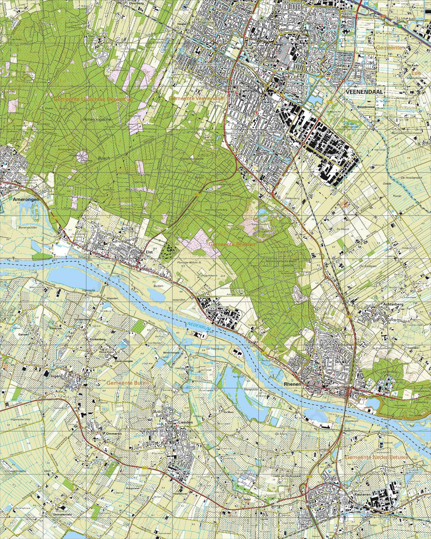 Topografische Kaart 39E Rhenen
