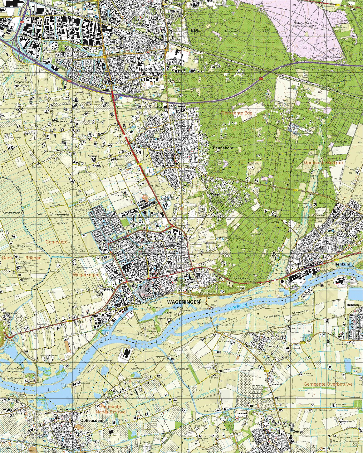Topografische Kaart 39F Wageningen