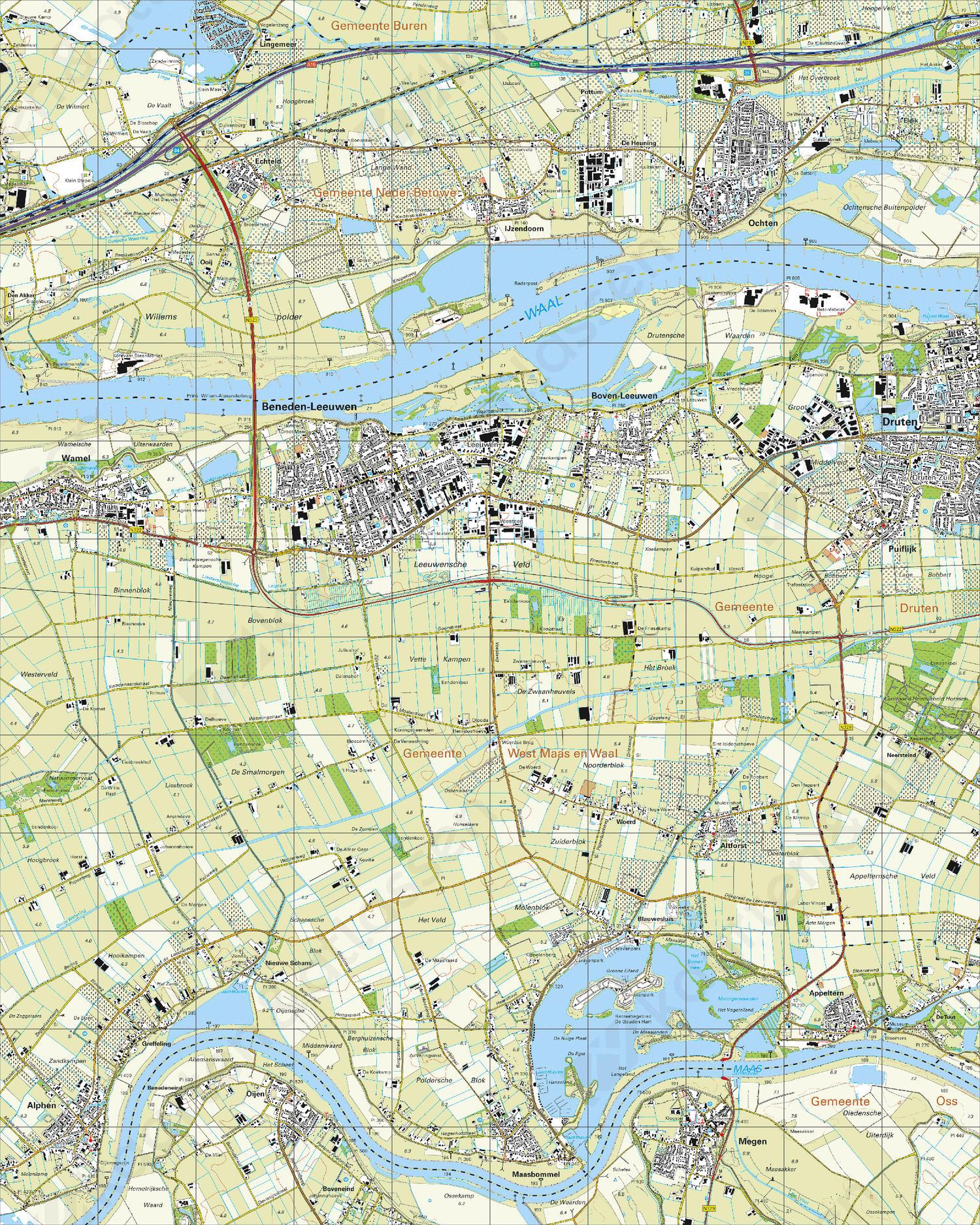 Topografische Kaart 39G Beneden-Leeuwen