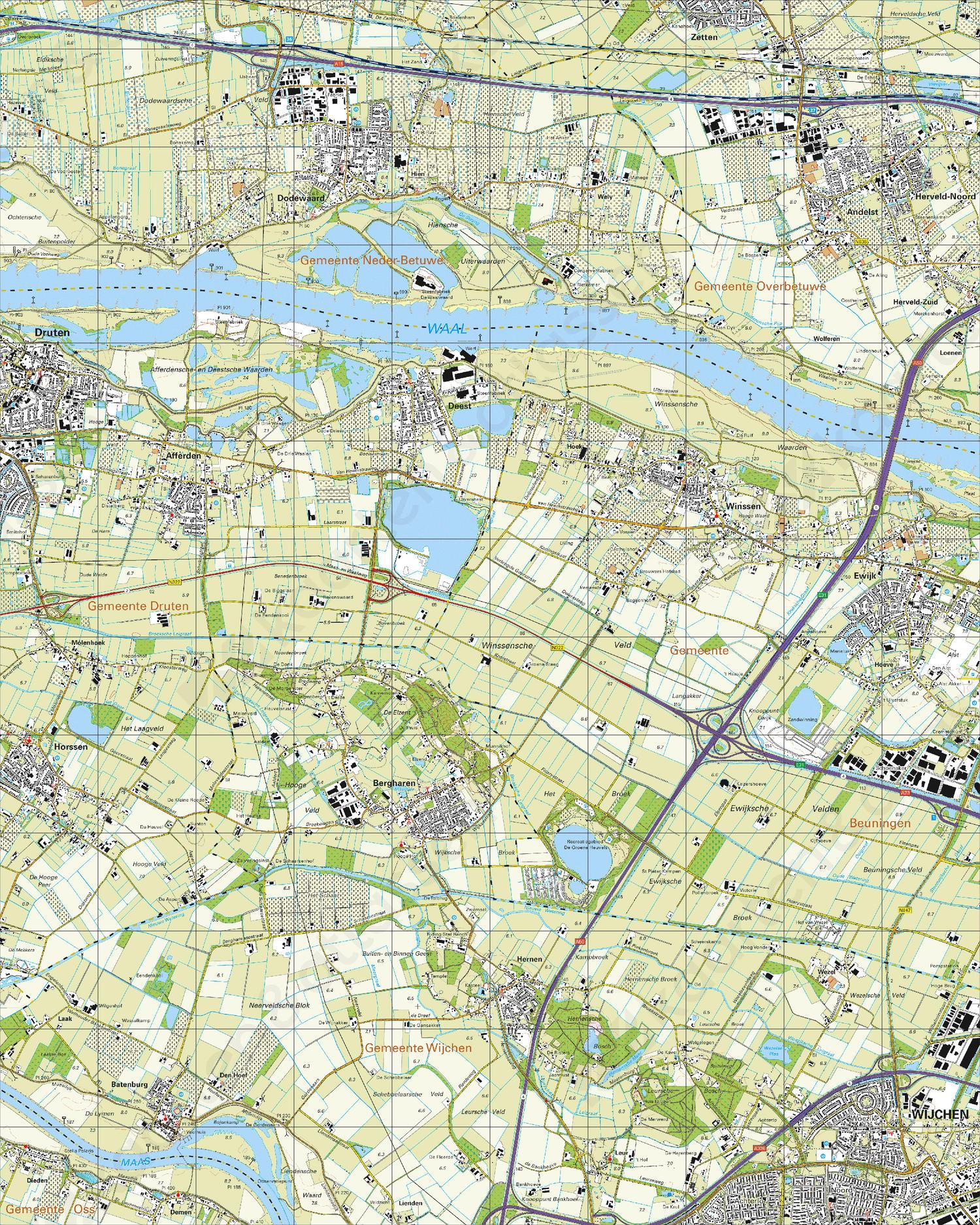 Topografische Kaart 39H Bergharen