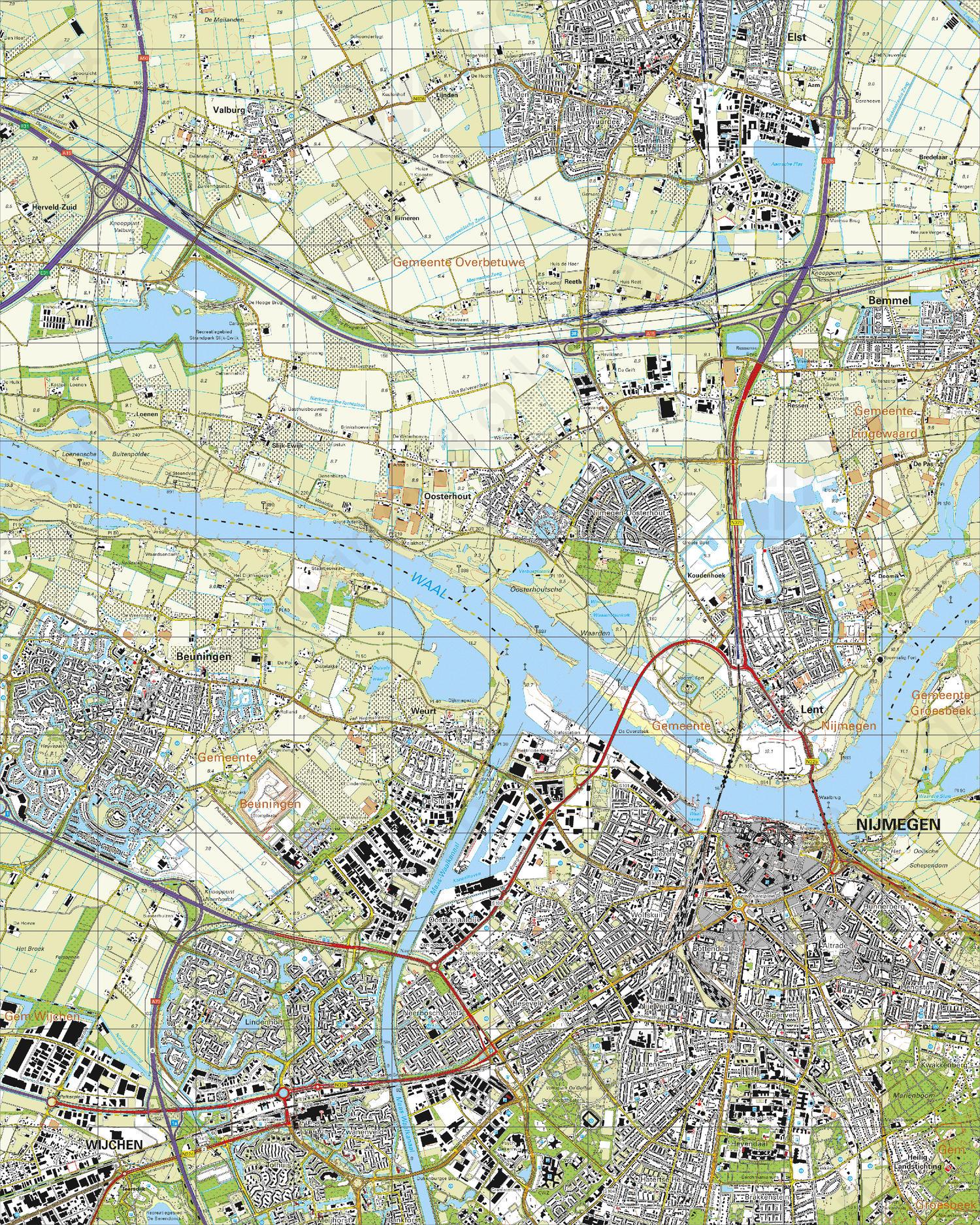 Topografische Kaart 40C Nijmegen