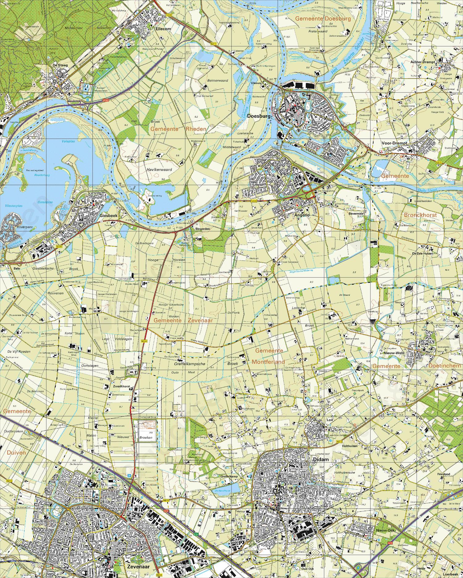 Topografische Kaart 40E Doesburg