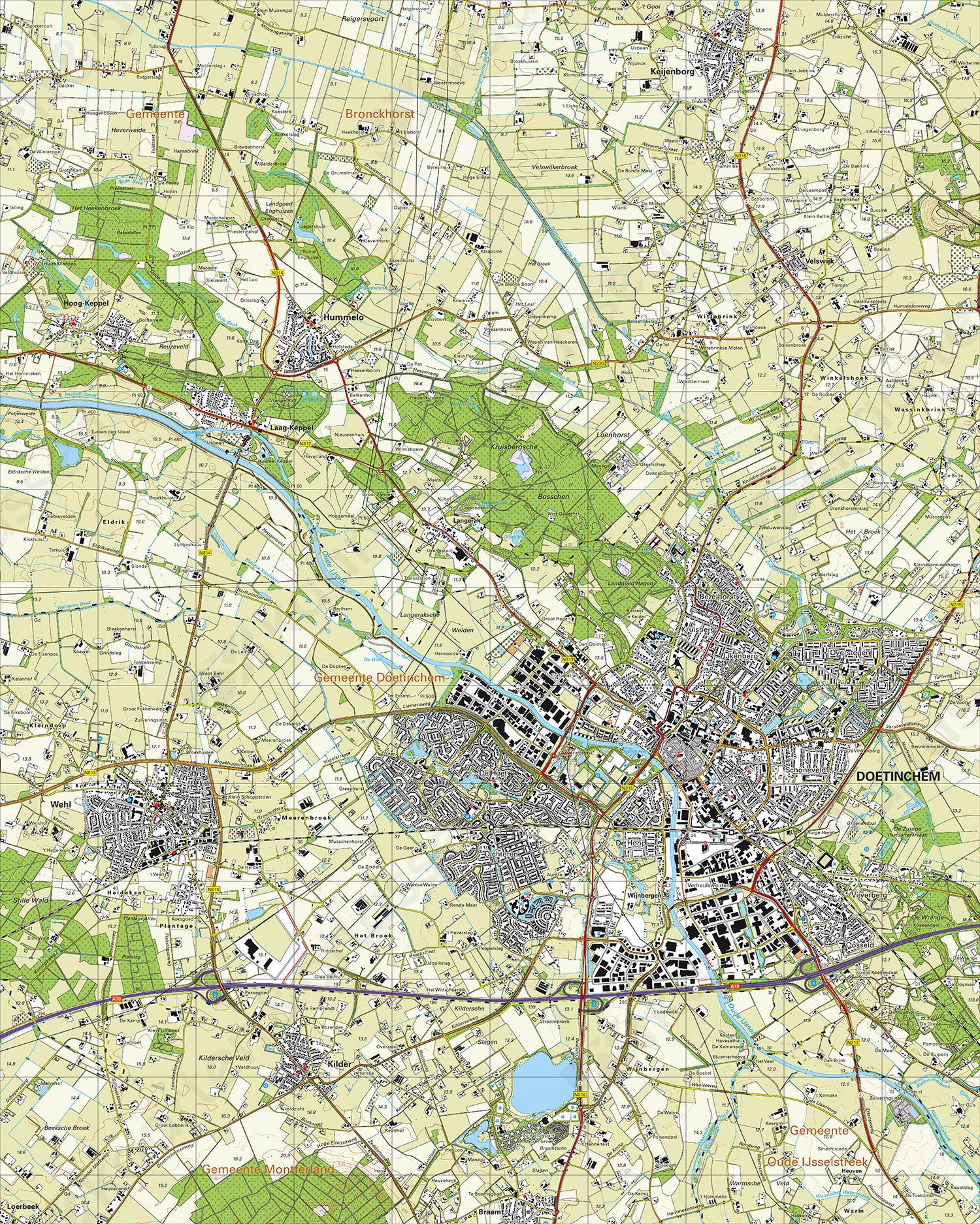 Topografische Kaart 40F Doetinchem