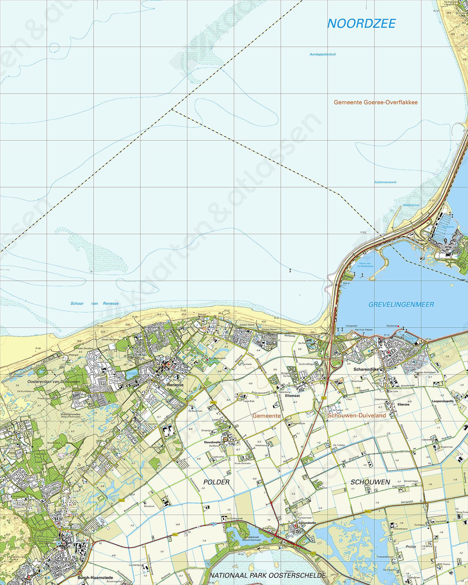 Topografische Kaart 42E Renesse