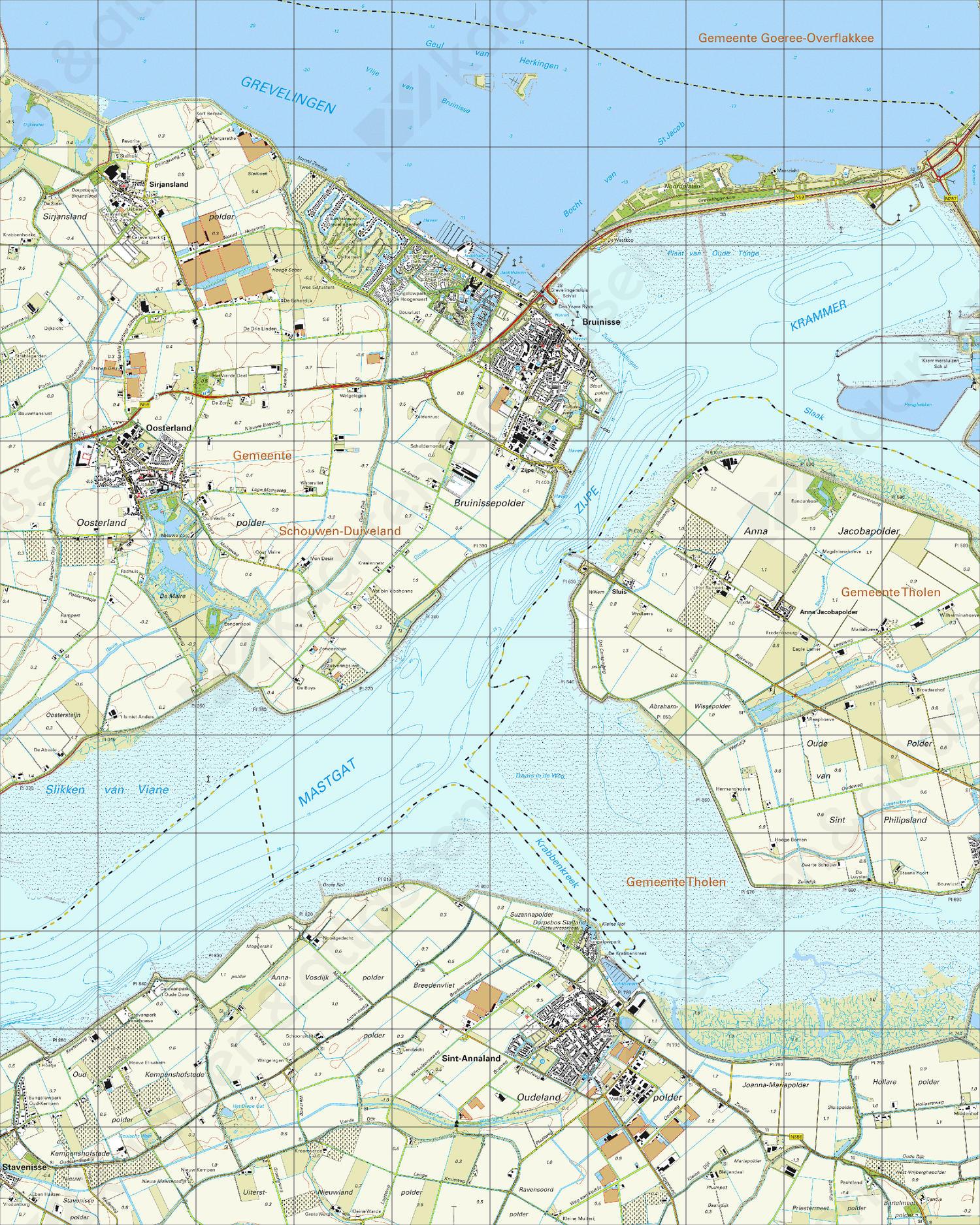 Topografische Kaart 43C Bruinisse
