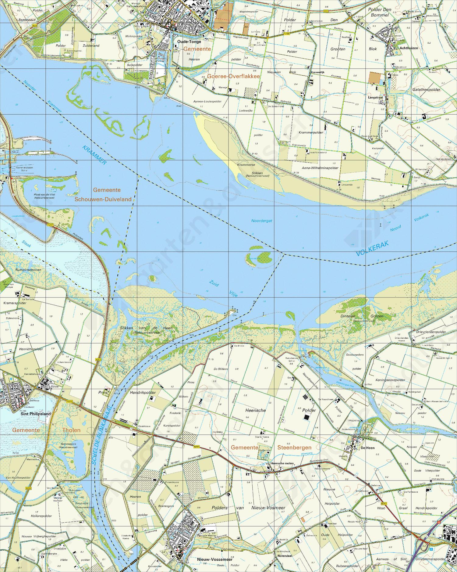 Topografische Kaart 43D Oude-Tonge