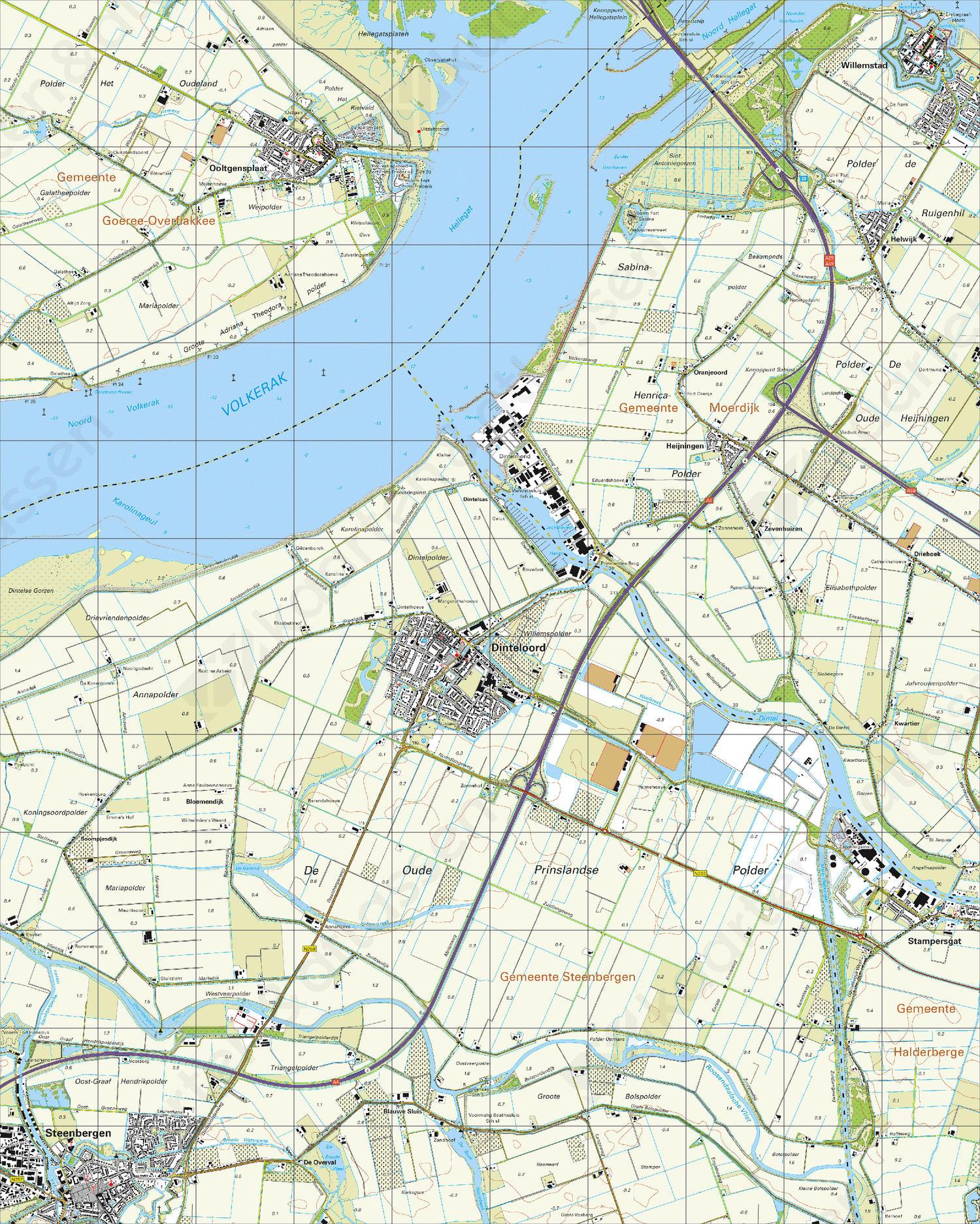 Topografische Kaart 43G Dinteloord