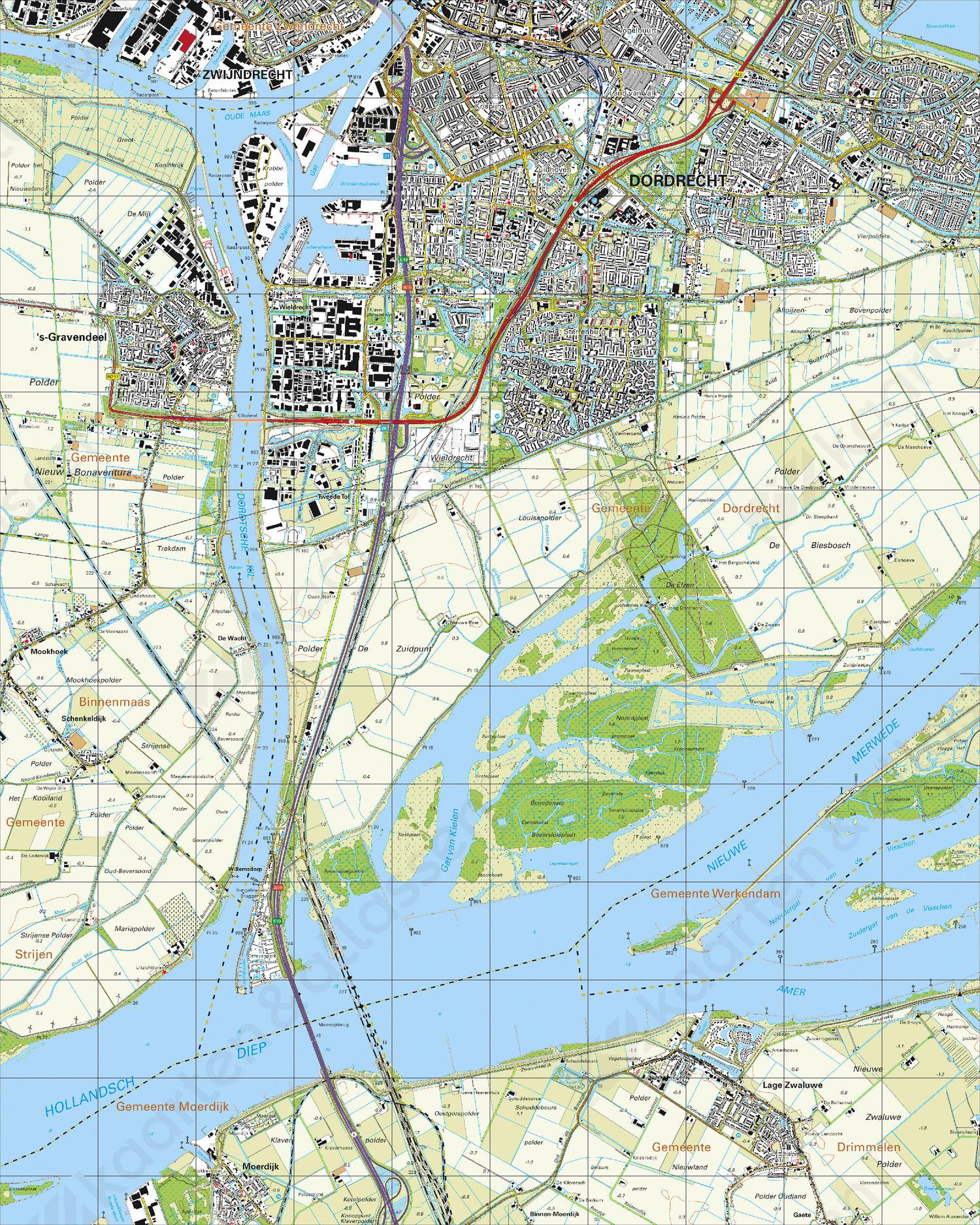 Topografische Kaart 44A Dordrecht