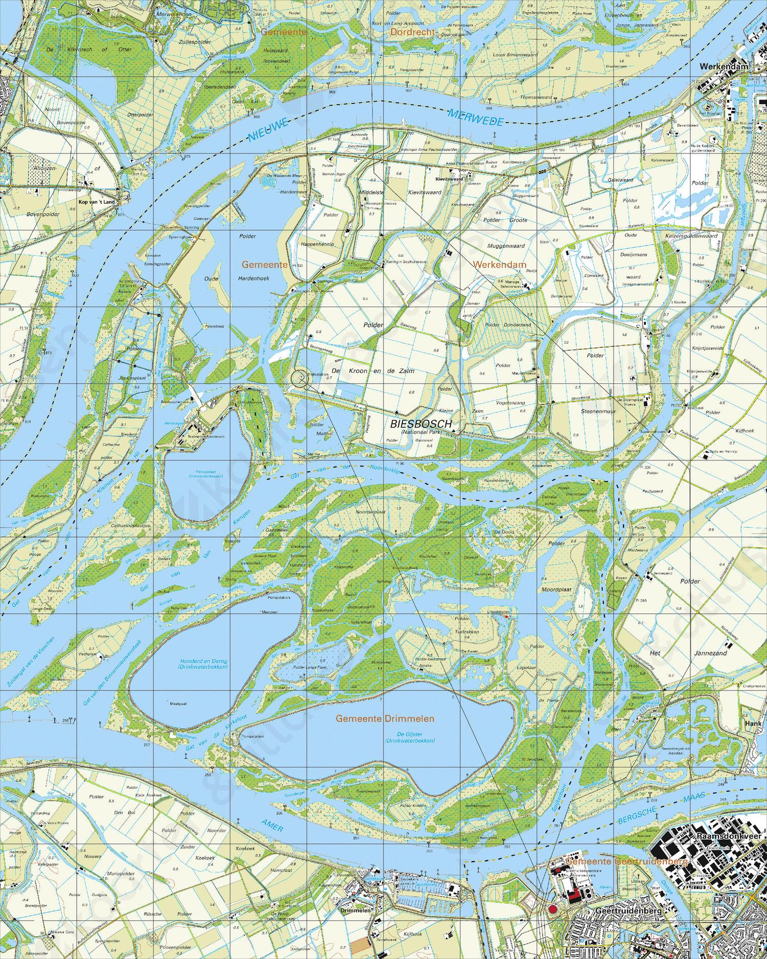 Topografische Kaart 44B Biesbosch