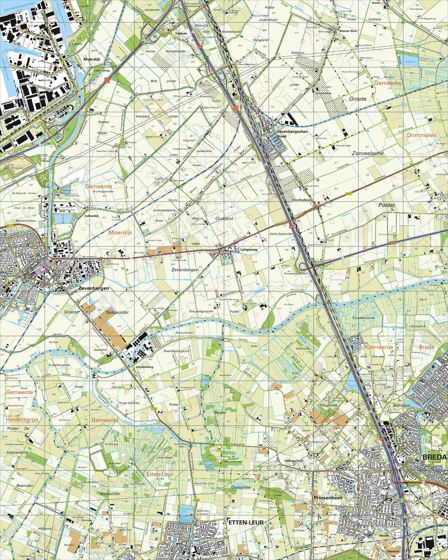 Topografische Kaart 44C Zevenbergen