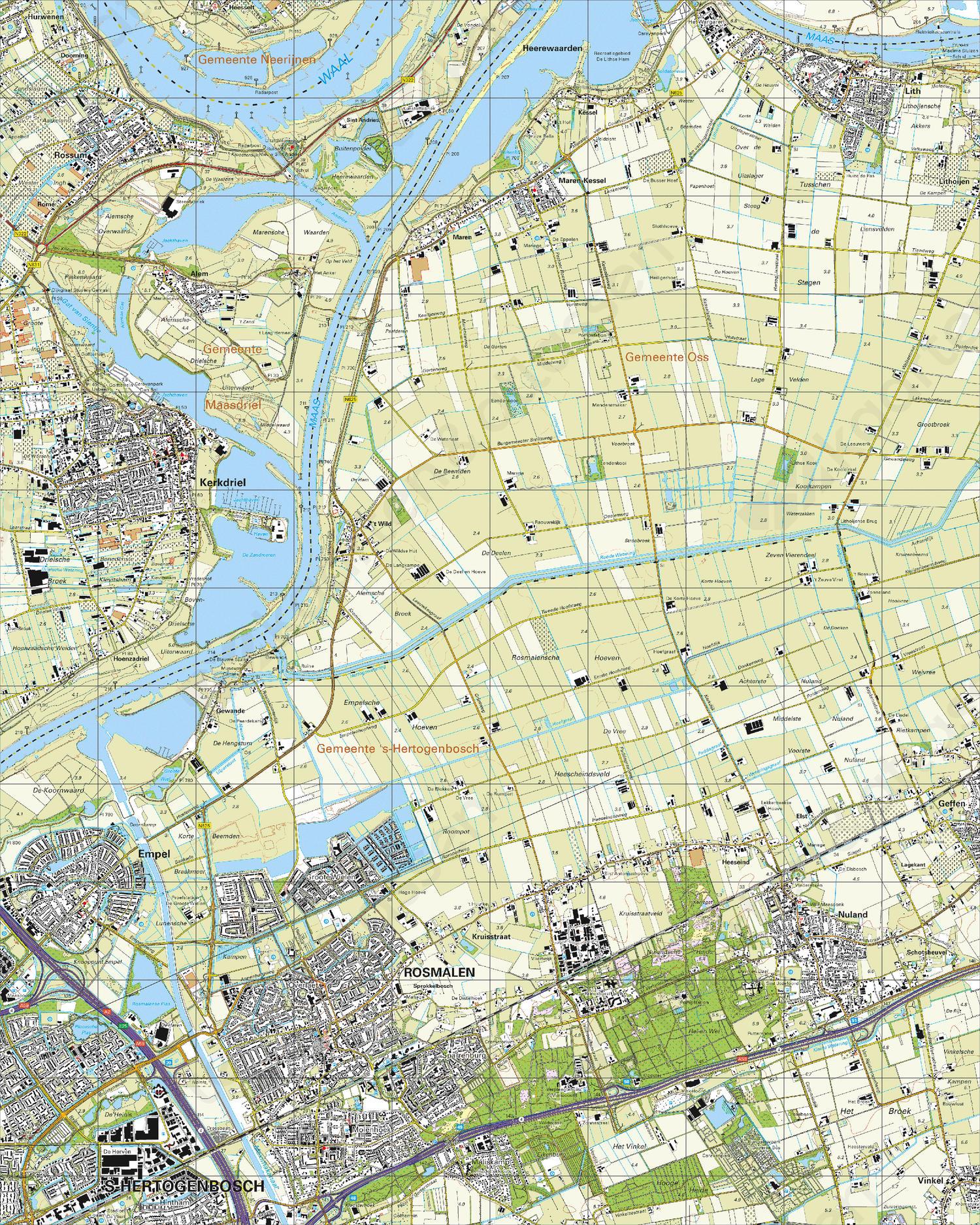 Topografische Kaart 45B Kerkdriel