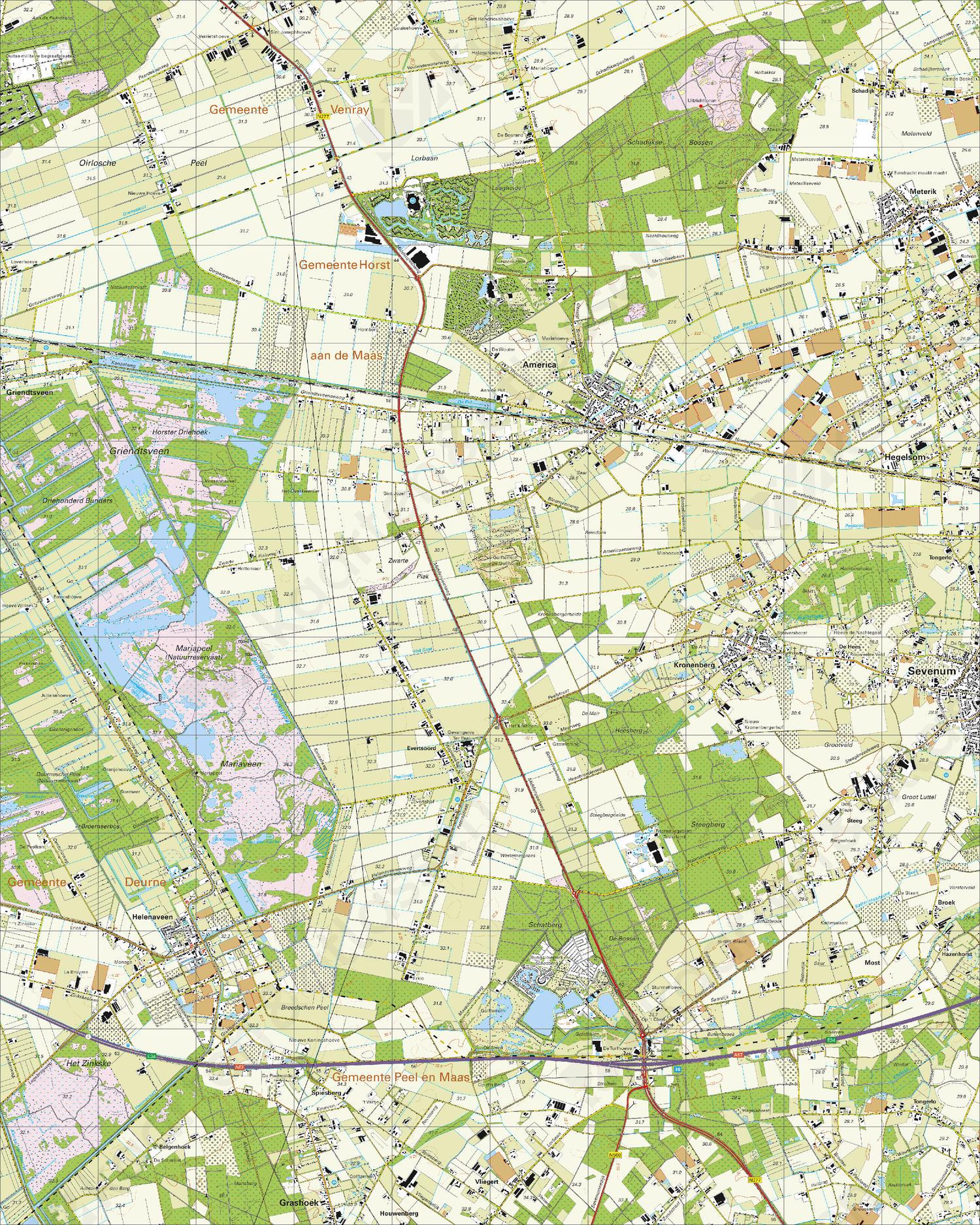Topografische Kaart 52D Helenaveen