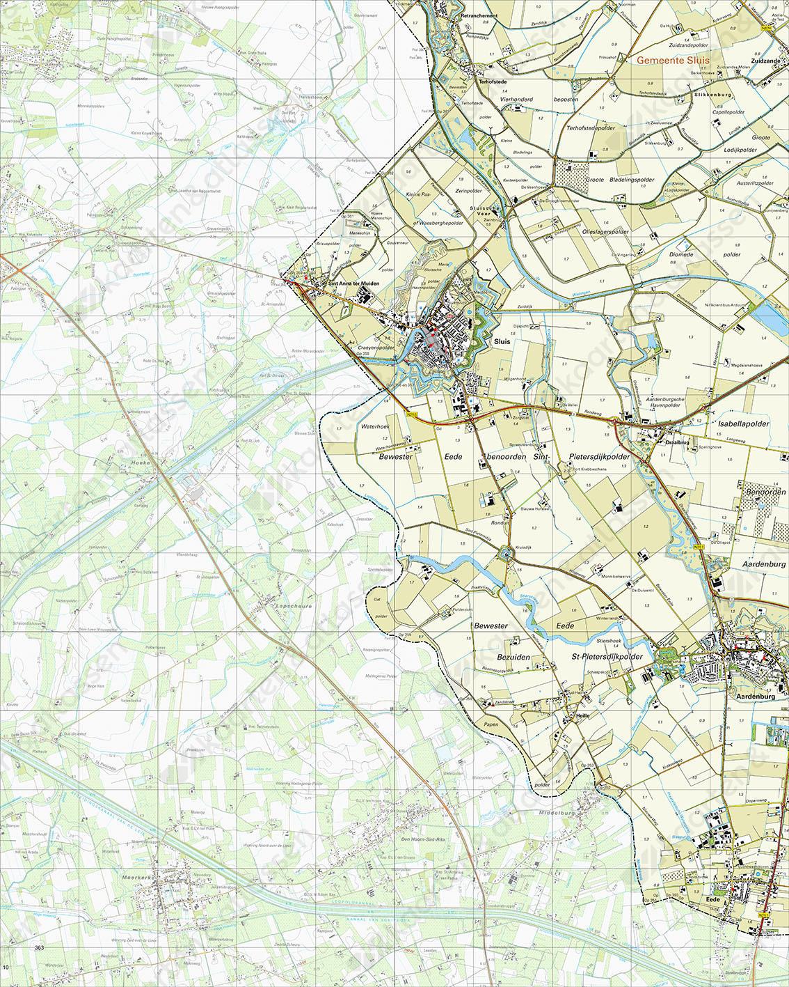 Topografische Kaart 53F Sluis