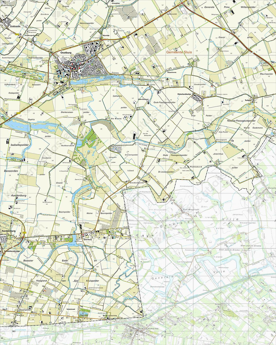 Topografische Kaart 54A Oostburg