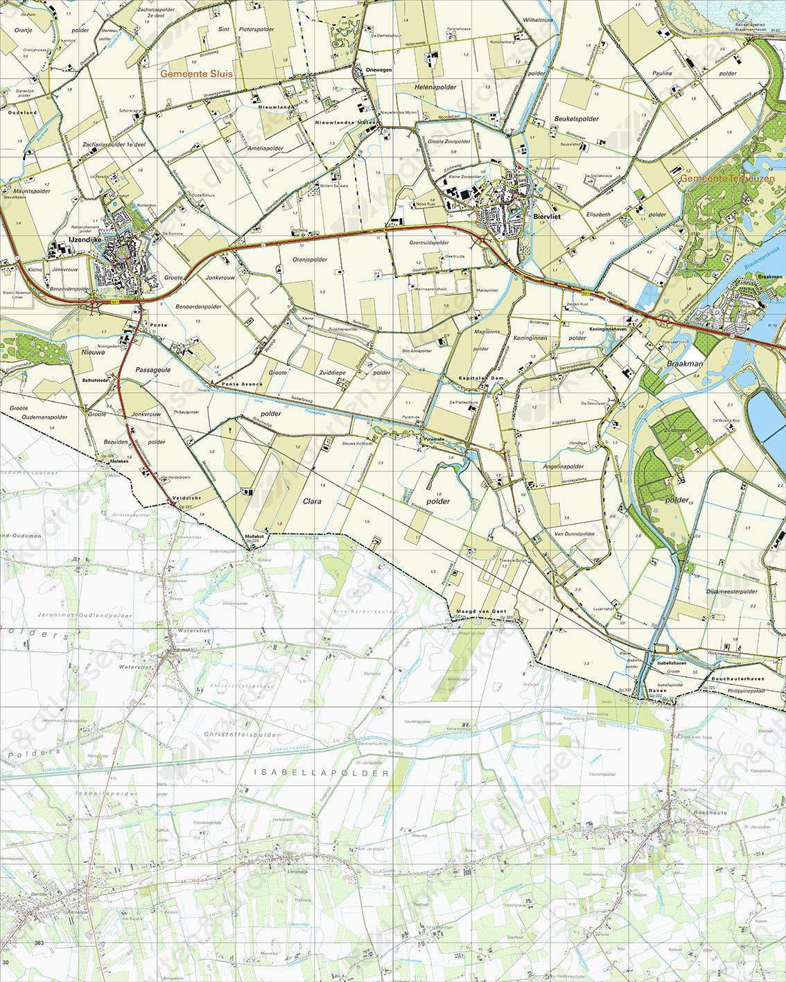 Topografische Kaart 54B Ijzendijke Gewicht
