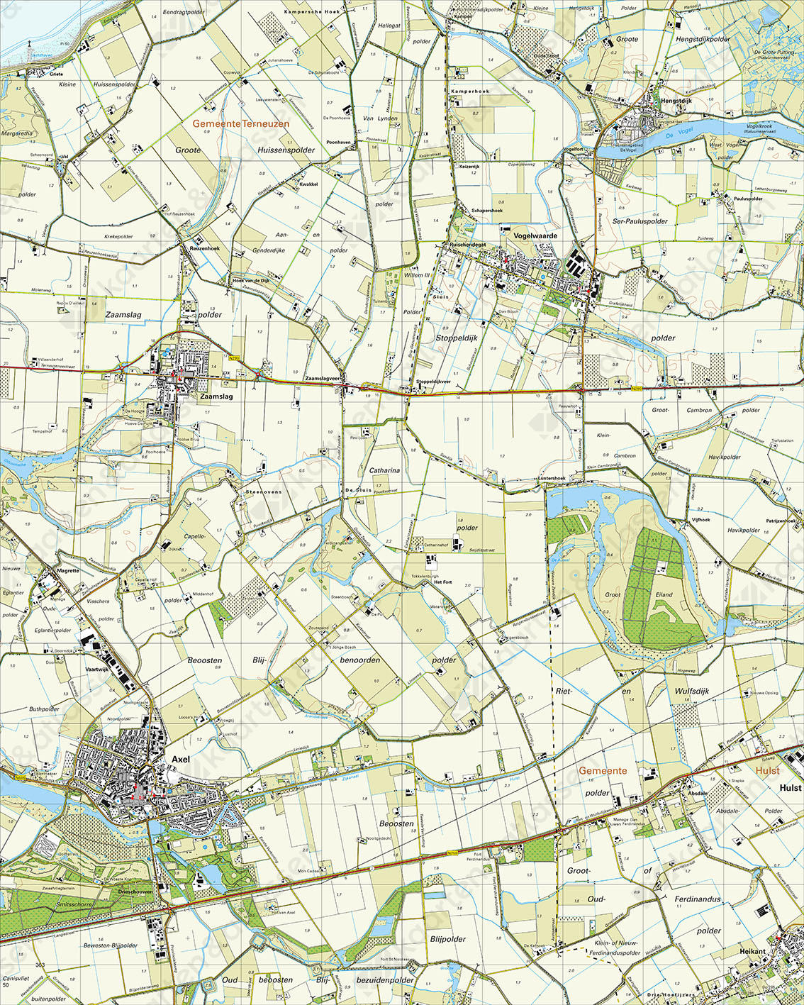 Topografische Kaart 54F Axel