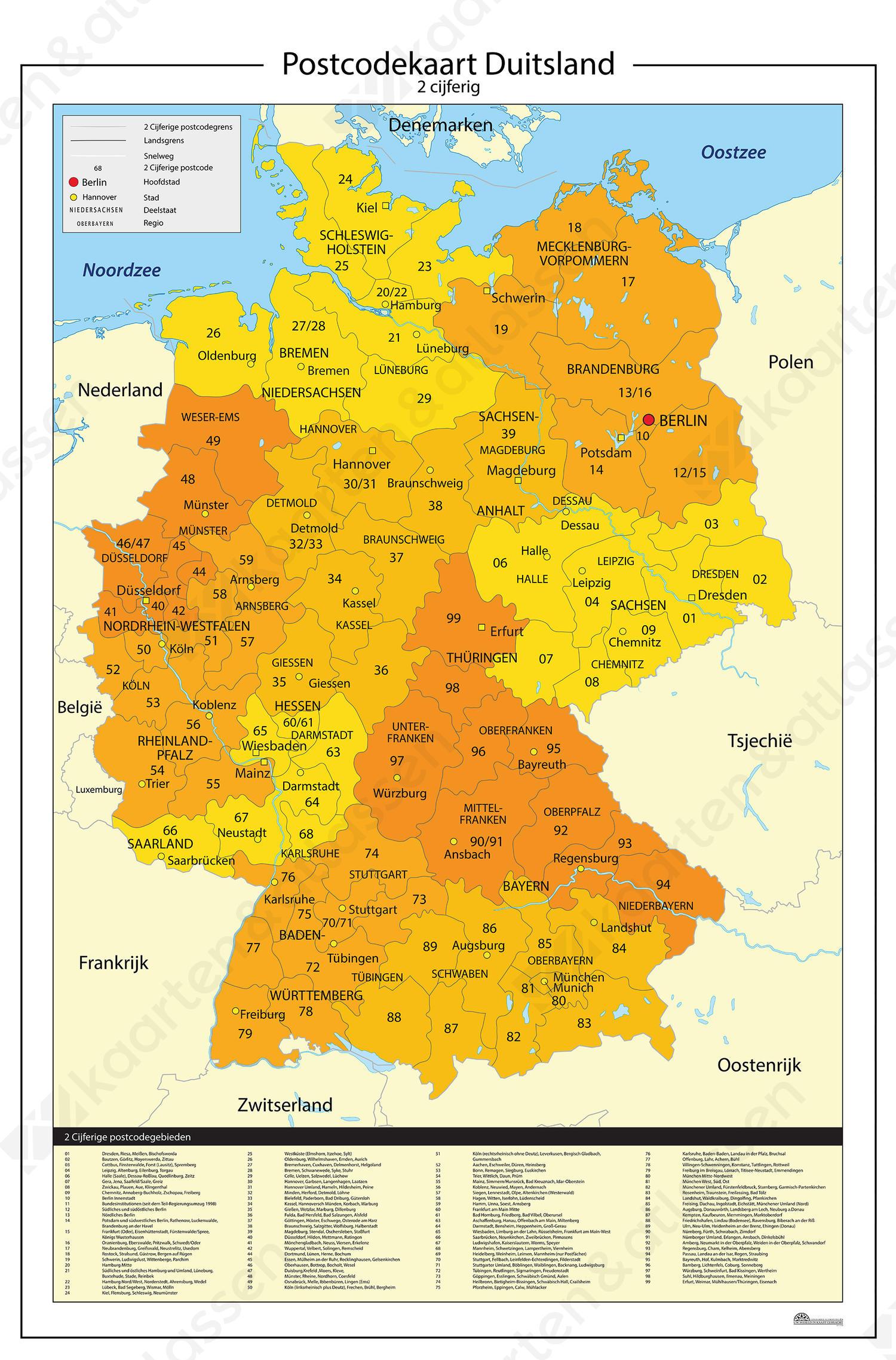 gebieden duitsland op kaart Duitsland 2 cijferige postcodekaart 814 | Kaarten en Atlassen.nl