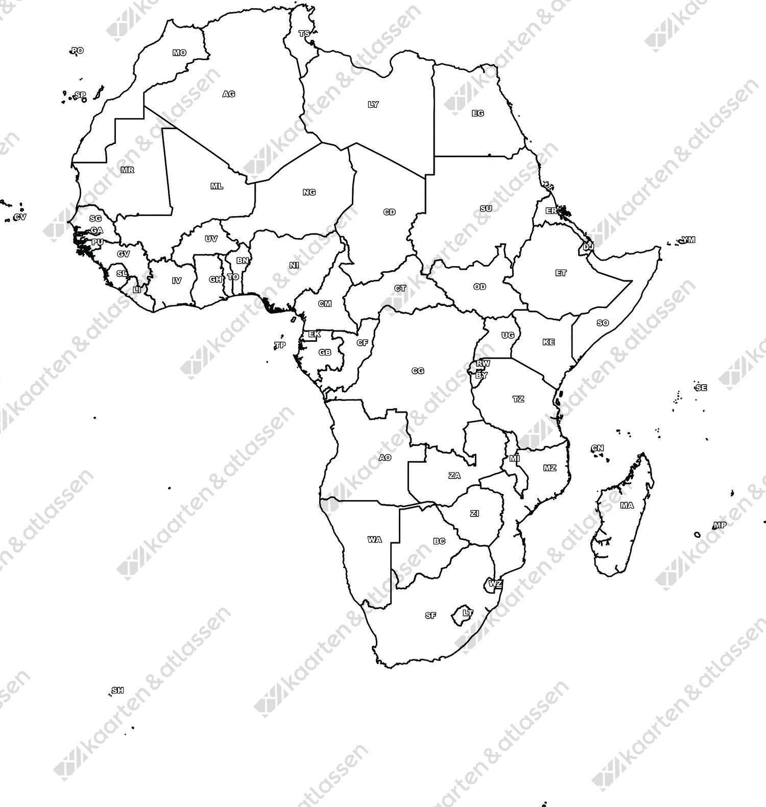 Digitale Kaart Van Afrika Gratis Kaarten En Atlassen Nl