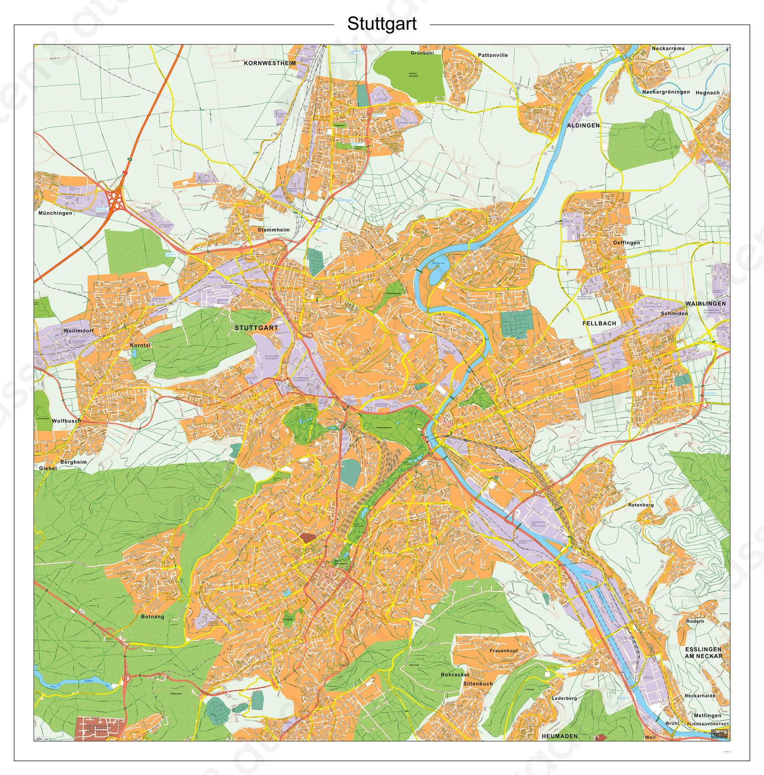 Digitale kaart Stuttgart 140