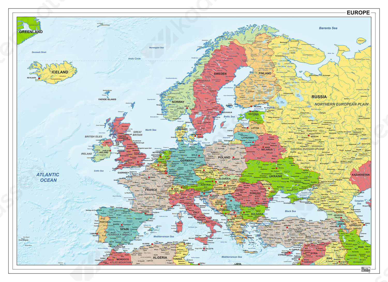 kaart van europa Digitale kaart van Europa staatkundig 1281 | Kaarten en Atlassen.nl