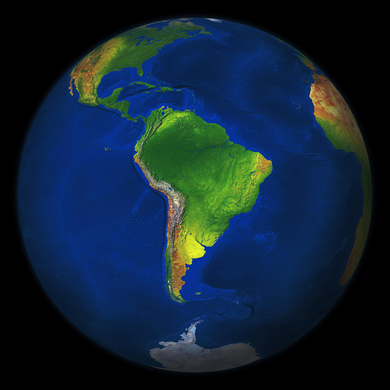 Digitale Wereldbol Zuid-Amerika 549