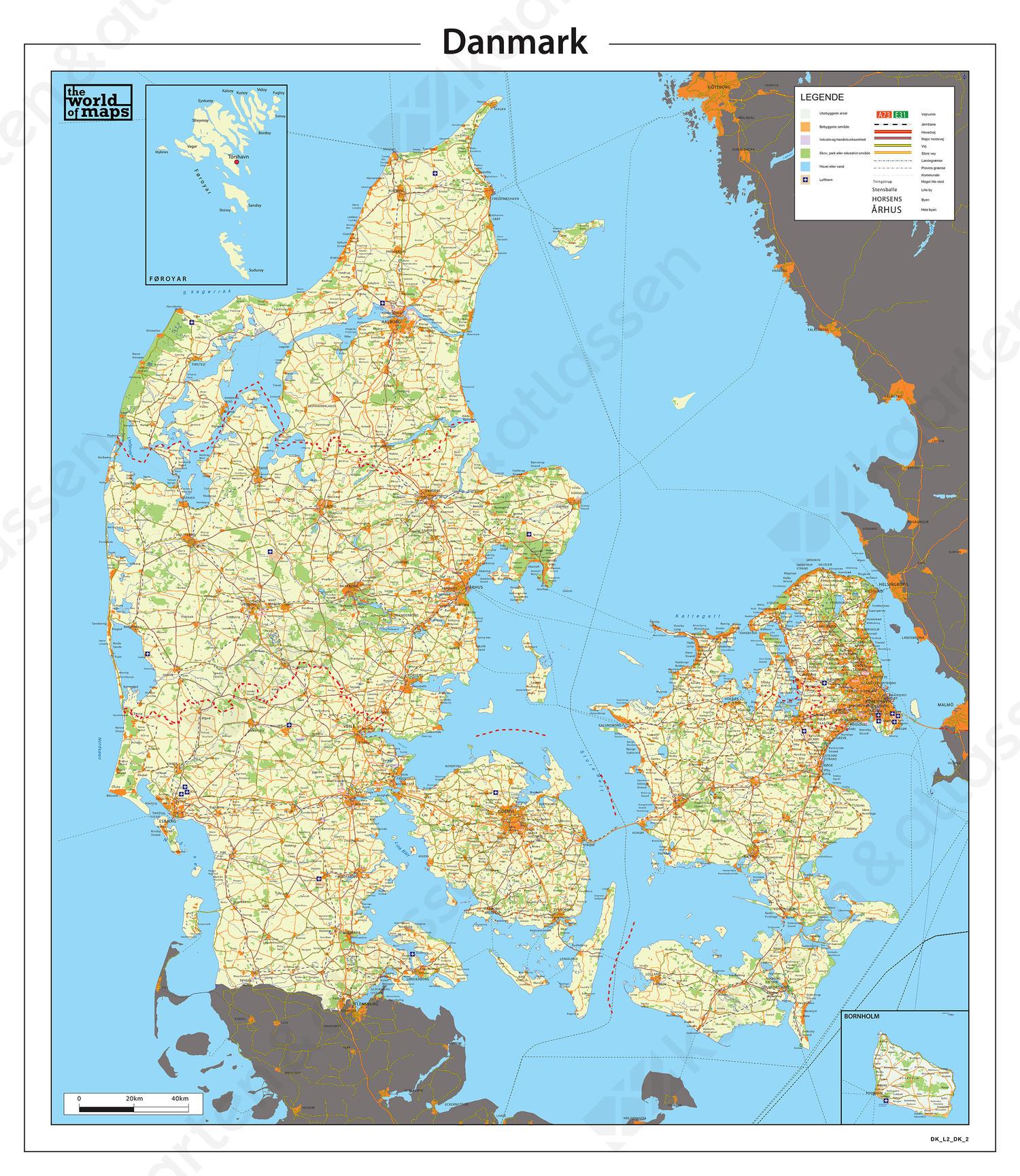 Digitale Gedetailleerde kaart van Denemarken