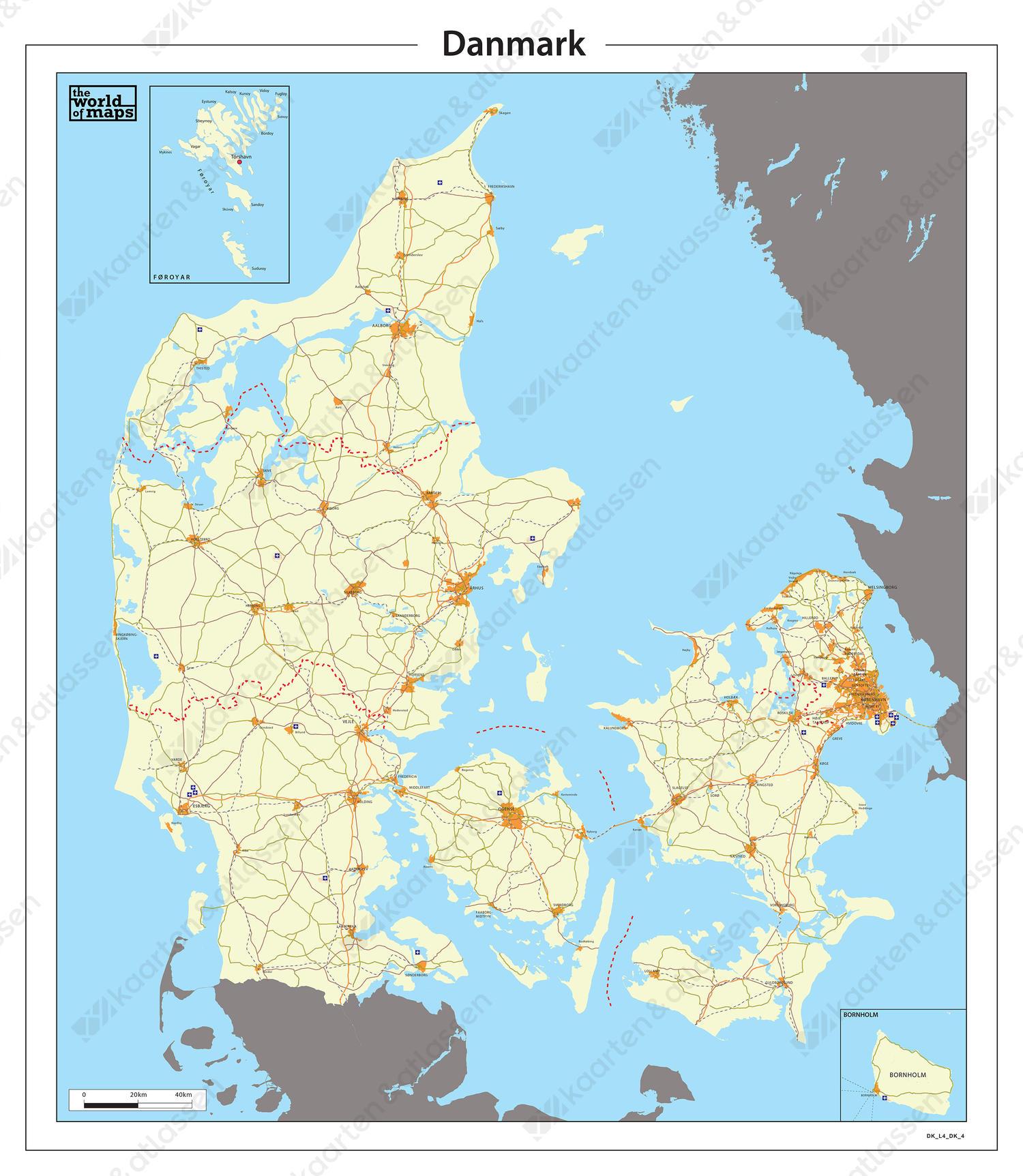 Digitale Eenvoudige kaart Denemarken