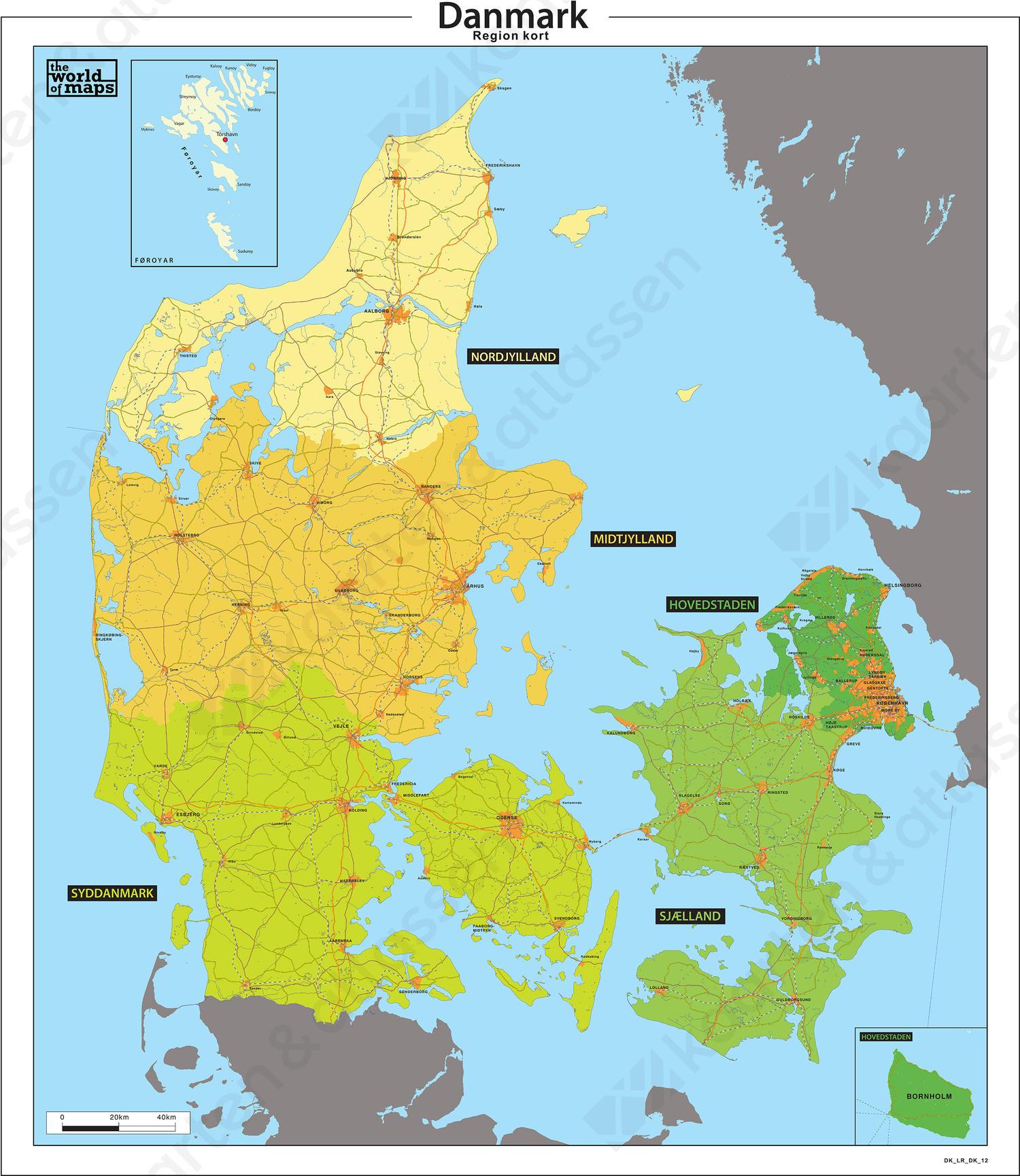 Basis regio kaart van Denemarken